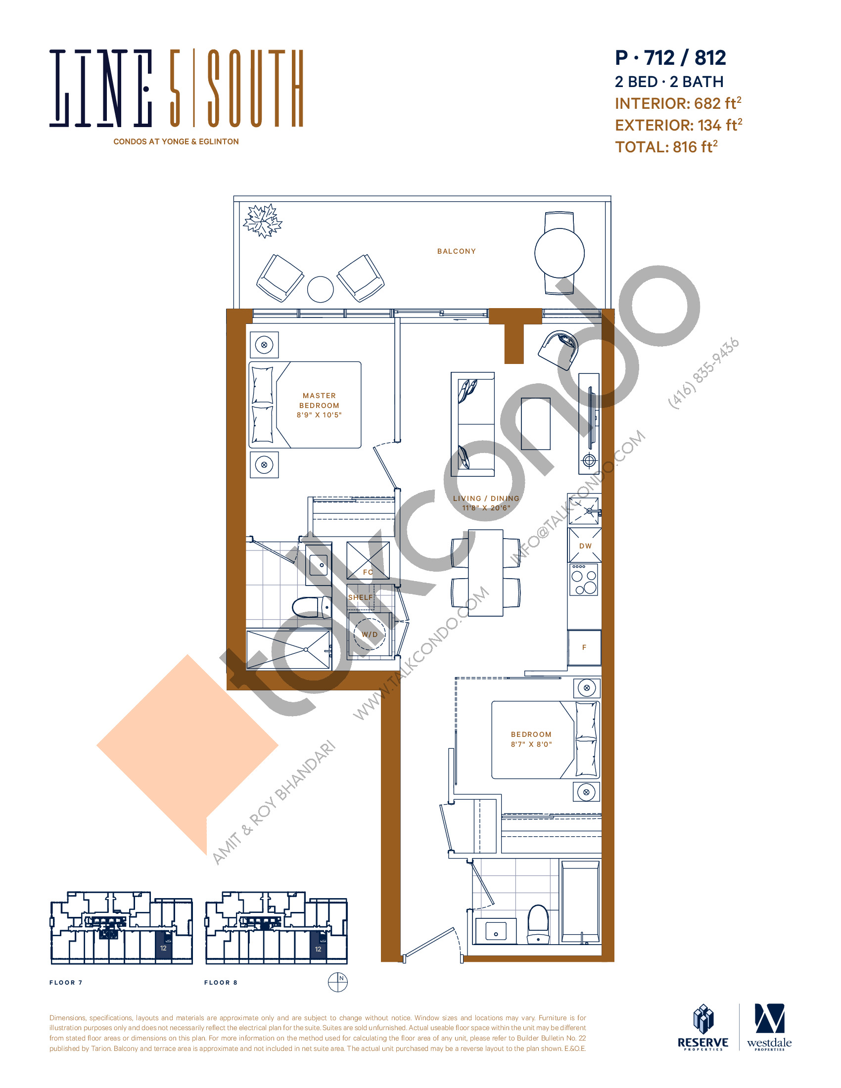P-712 / 812 Floor Plan at Line 5 South Tower Condos - 682 sq.ft