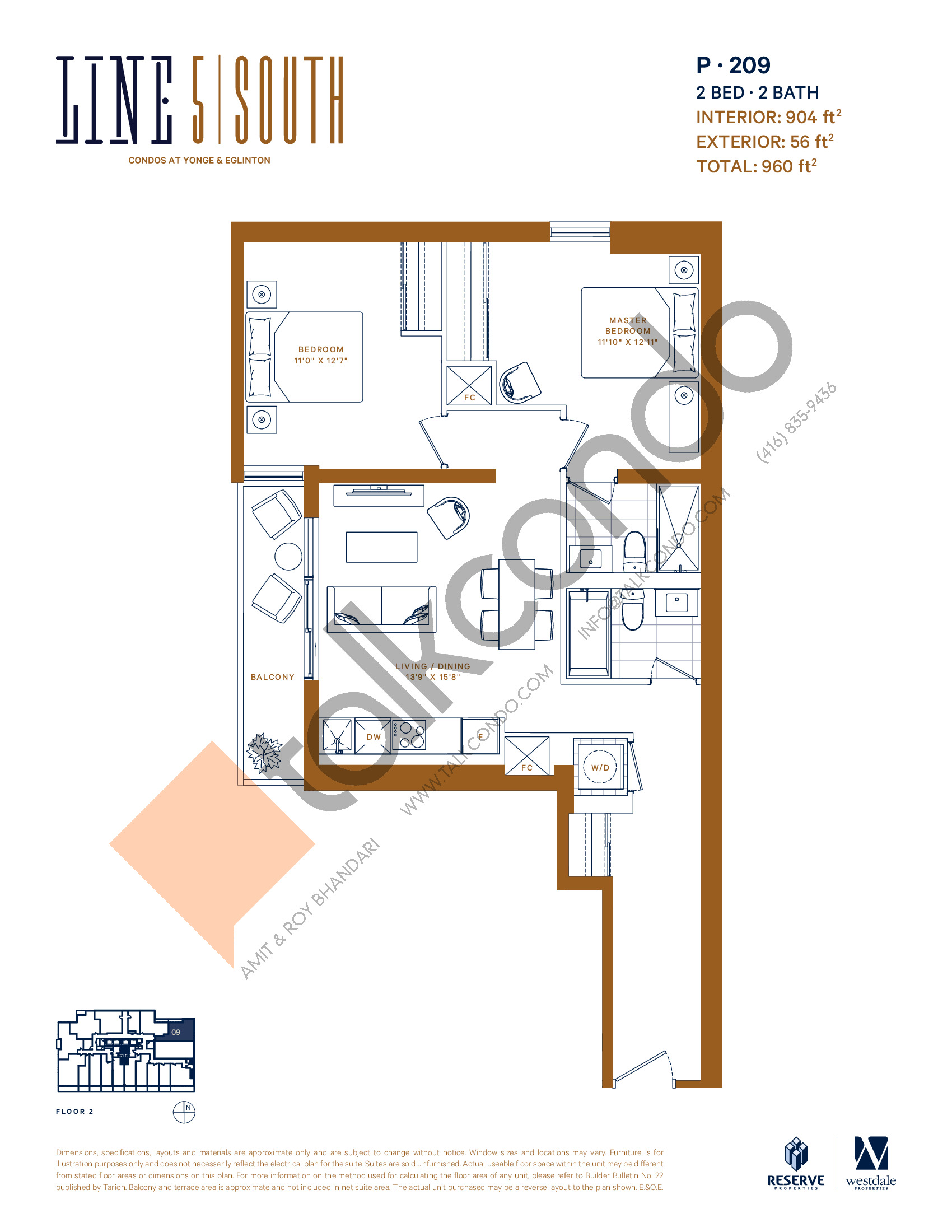 P-209 Floor Plan at Line 5 South Tower Condos - 904 sq.ft