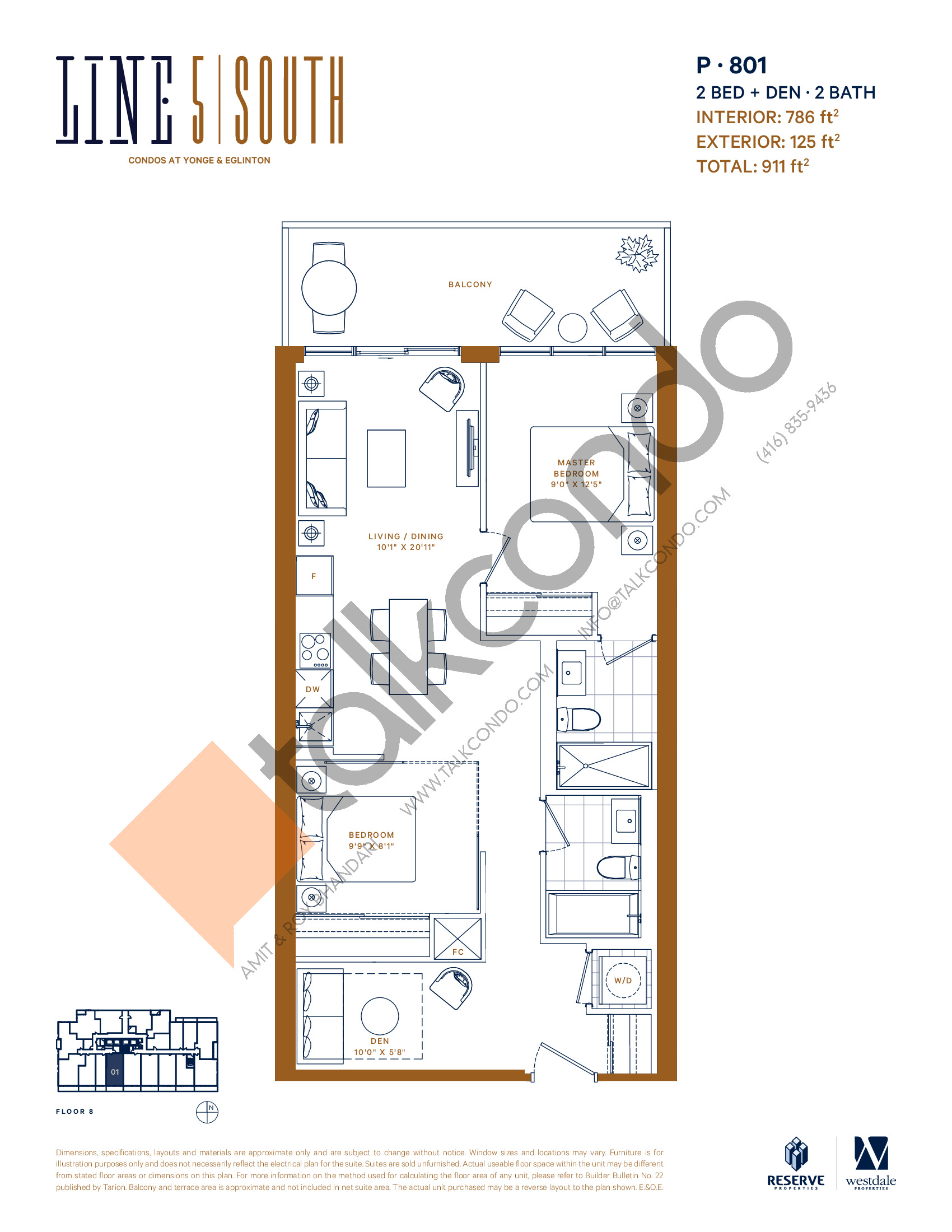 P-801 Floor Plan at Line 5 South Tower Condos - 786 sq.ft