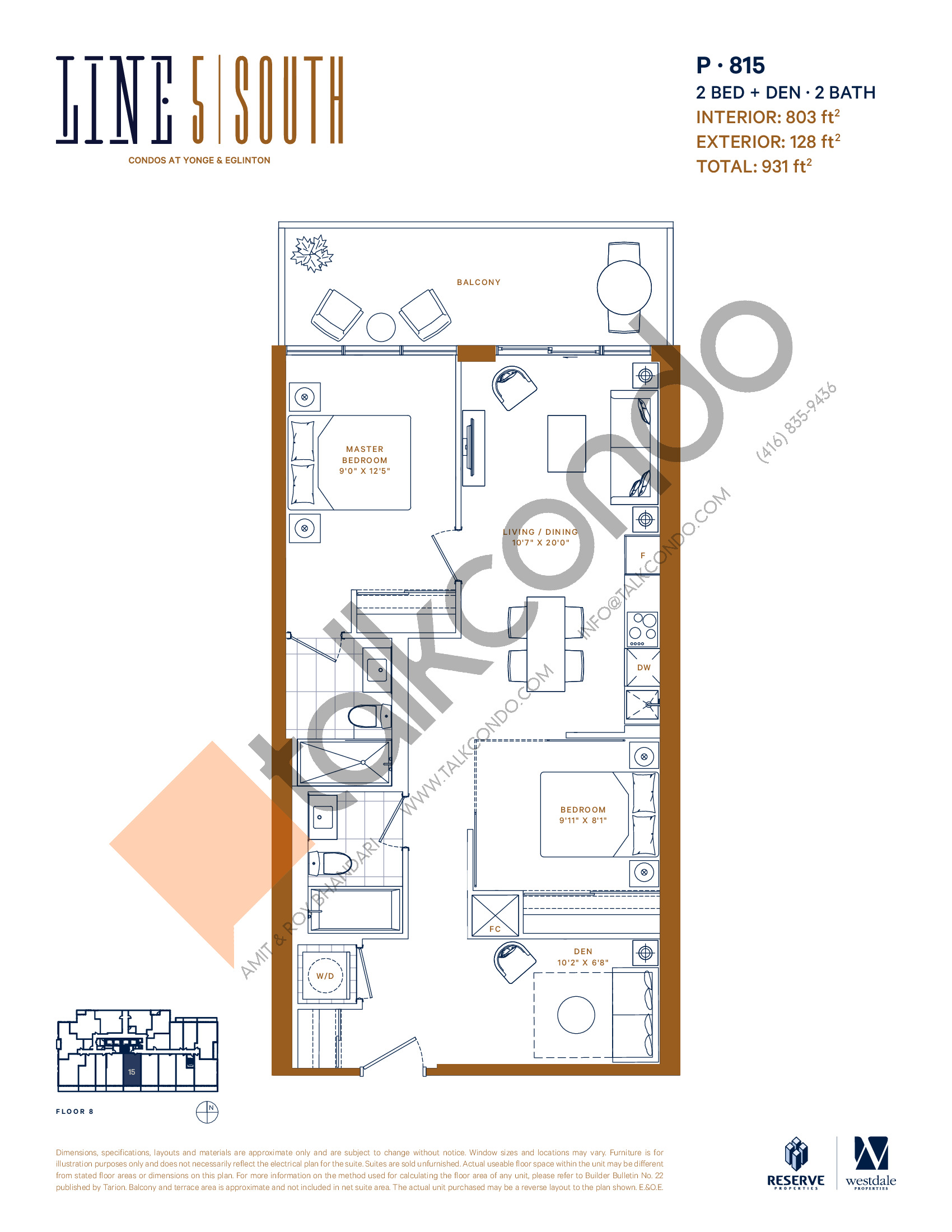 P-815 Floor Plan at Line 5 South Tower Condos - 803 sq.ft