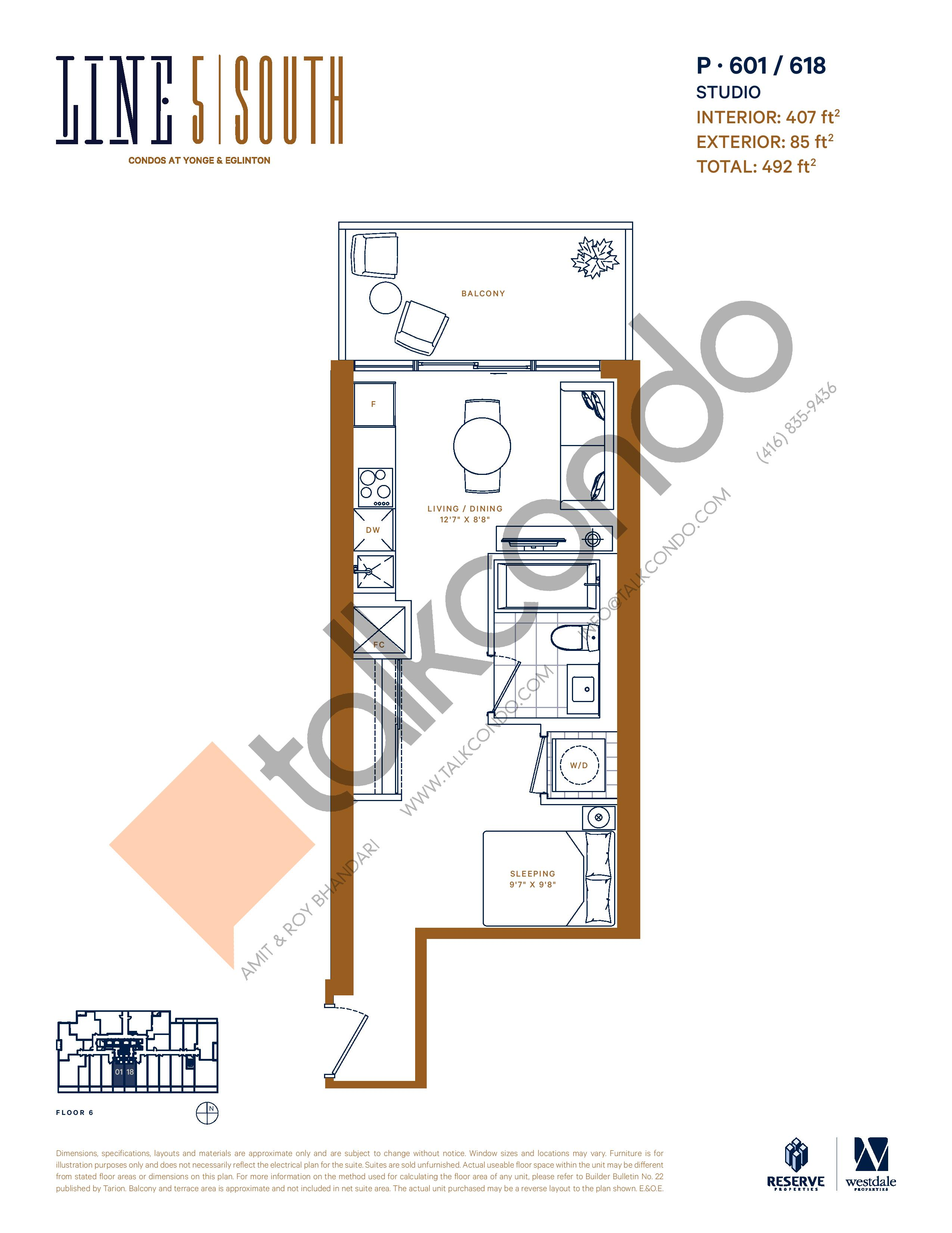 P-601 / 618 Floor Plan at Line 5 South Tower Condos - 407 sq.ft