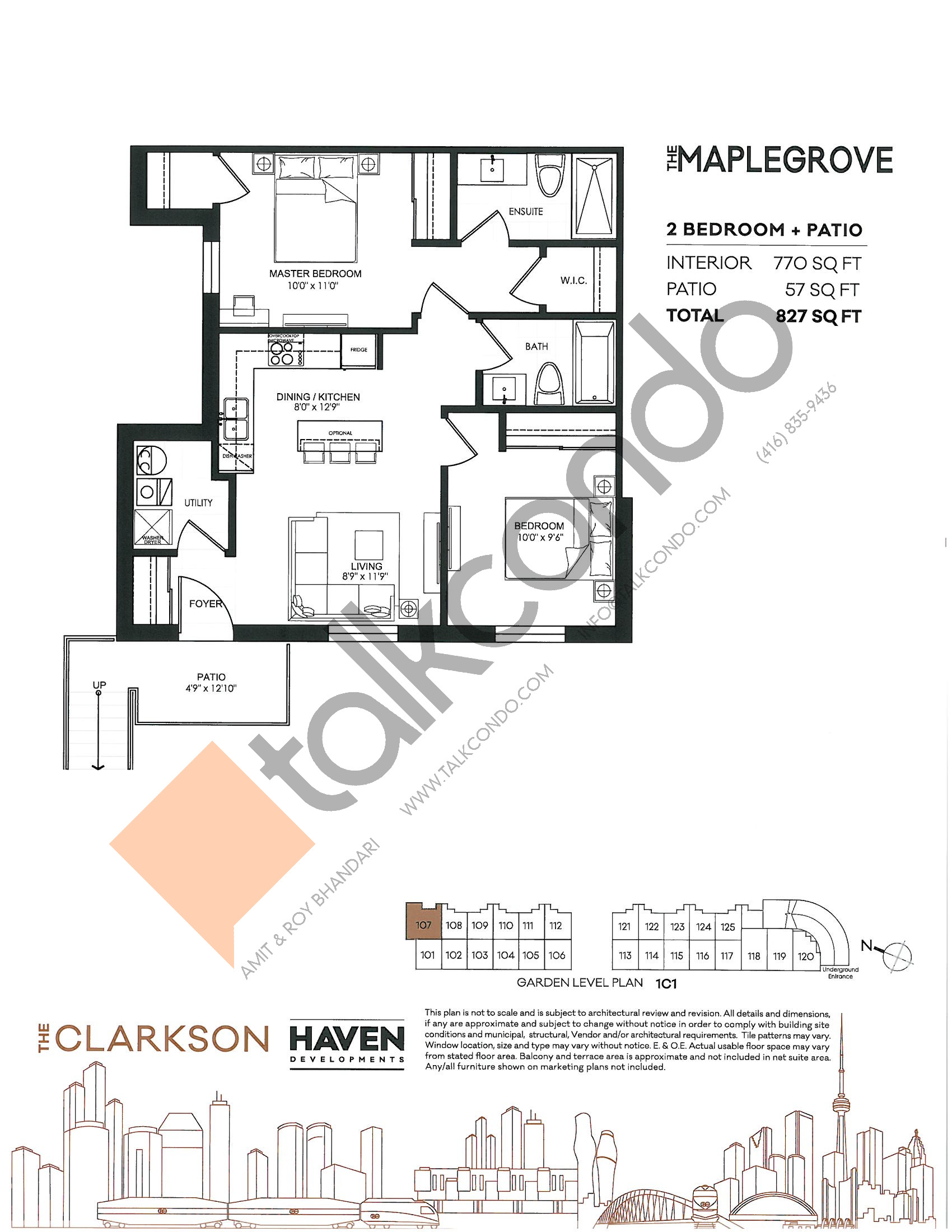 The Maplegrove Floor Plan at The Clarkson Urban Towns - 770 sq.ft