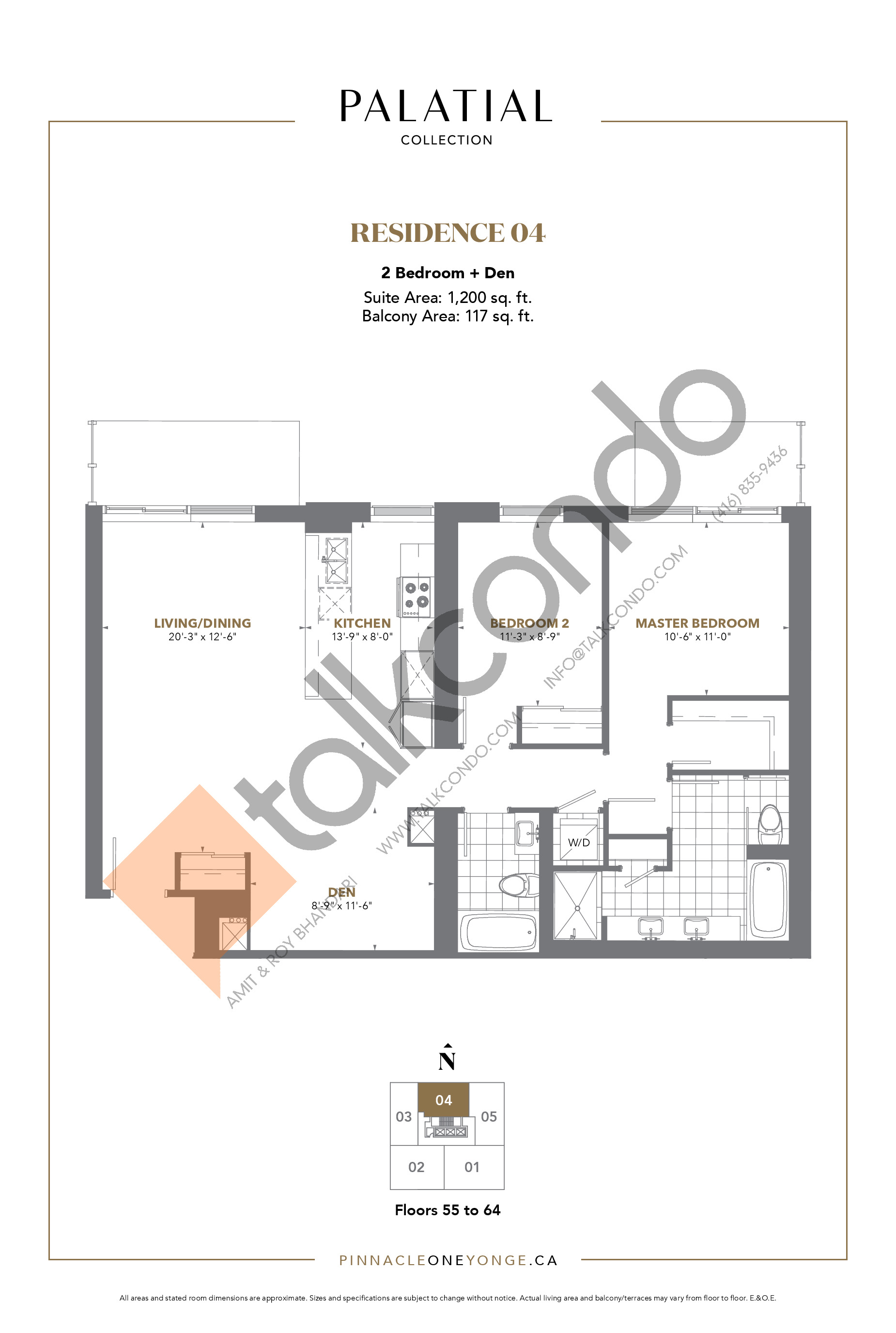 Palatial Collection - Residence 04 Floor Plan at The Prestige Condos at Pinnacle One Yonge - 1200 sq.ft