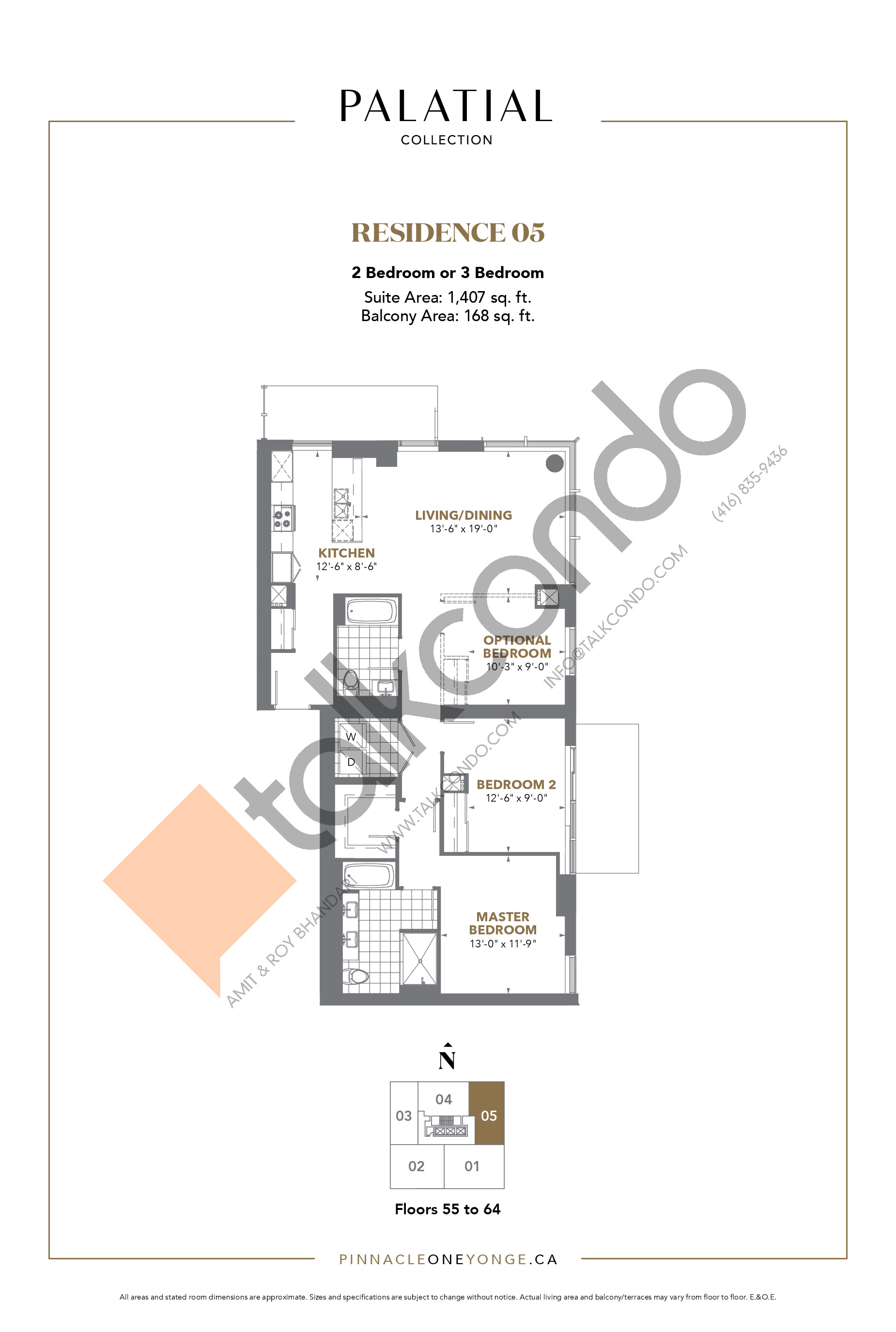 Palatial Collection - Residence 05 Floor Plan at The Prestige Condos at Pinnacle One Yonge - 1407 sq.ft