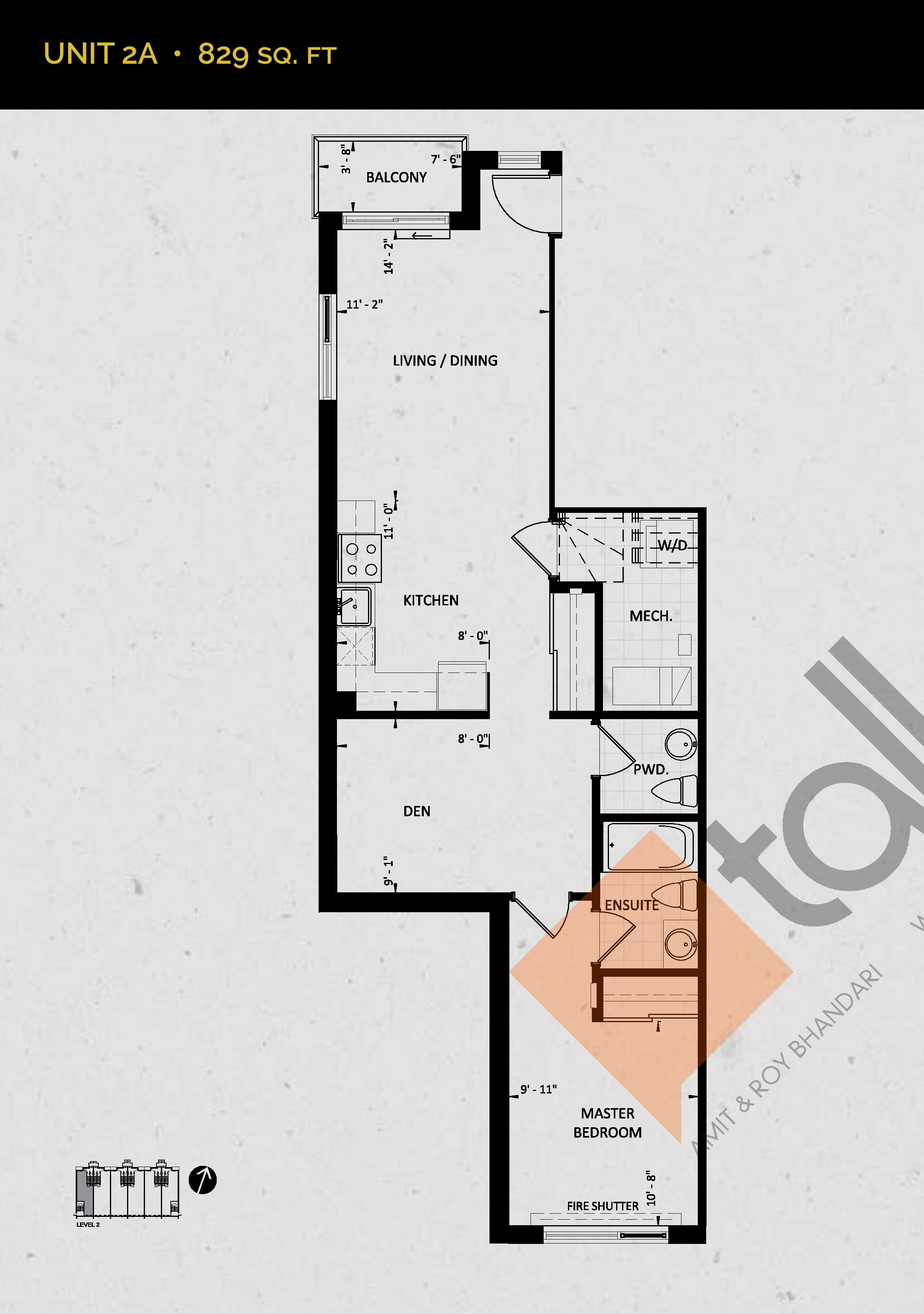 Unit 2A (Mezzo Collection) Floor Plan at Towns at Rouge Valley - 829 sq.ft