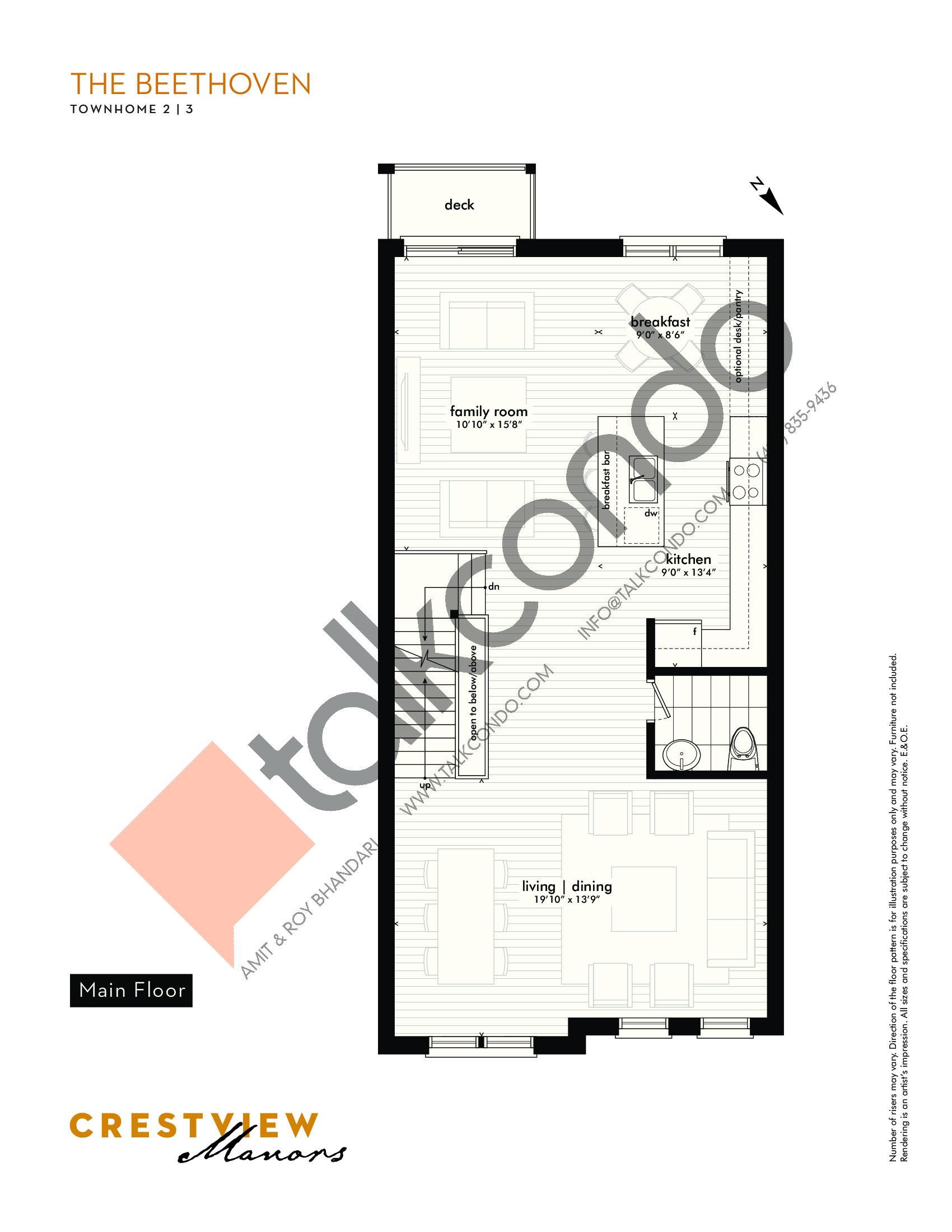 The Beethoven - Main Floor Floor Plan at Crestview Manors - 2362 sq.ft