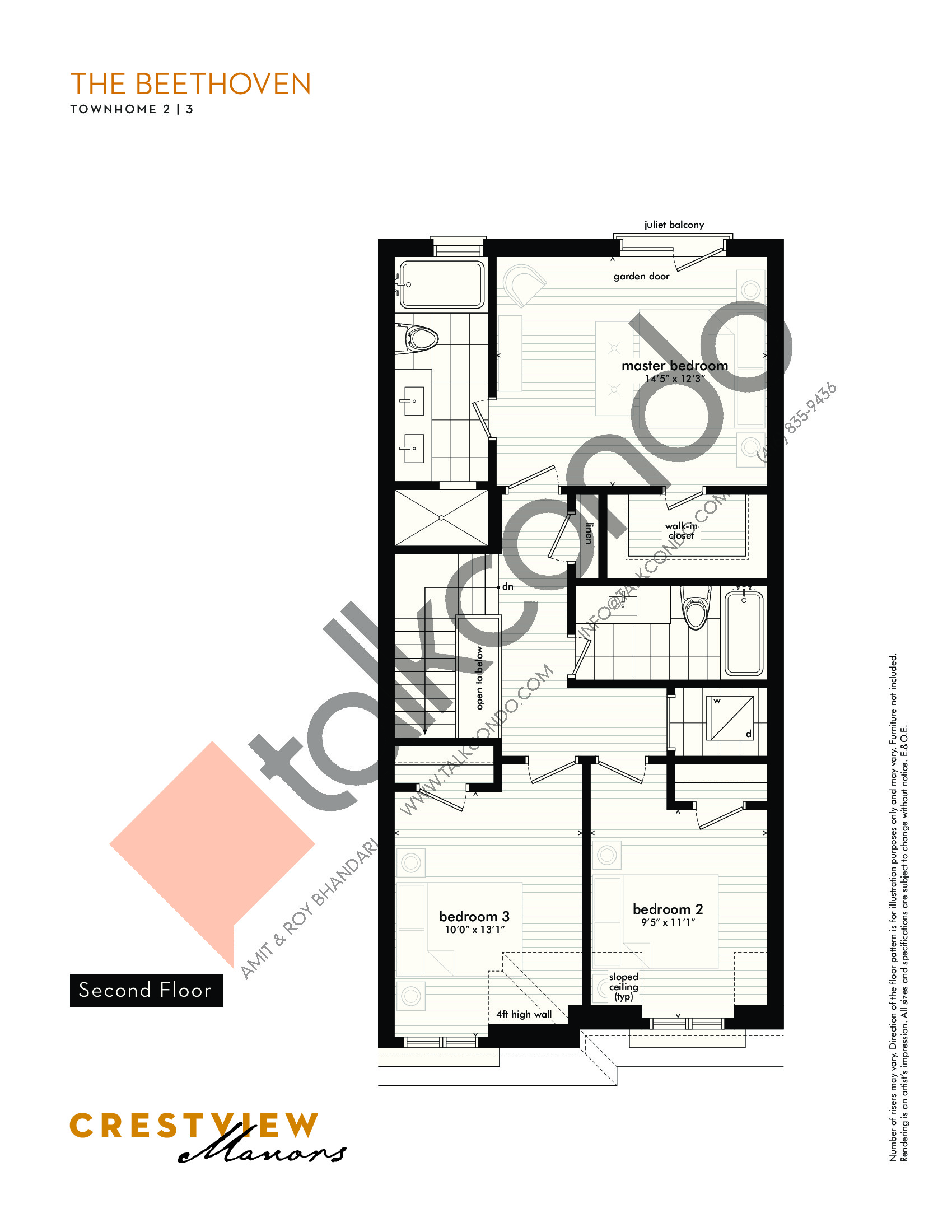 The Beethoven - Second Floor Floor Plan at Crestview Manors - 2362 sq.ft