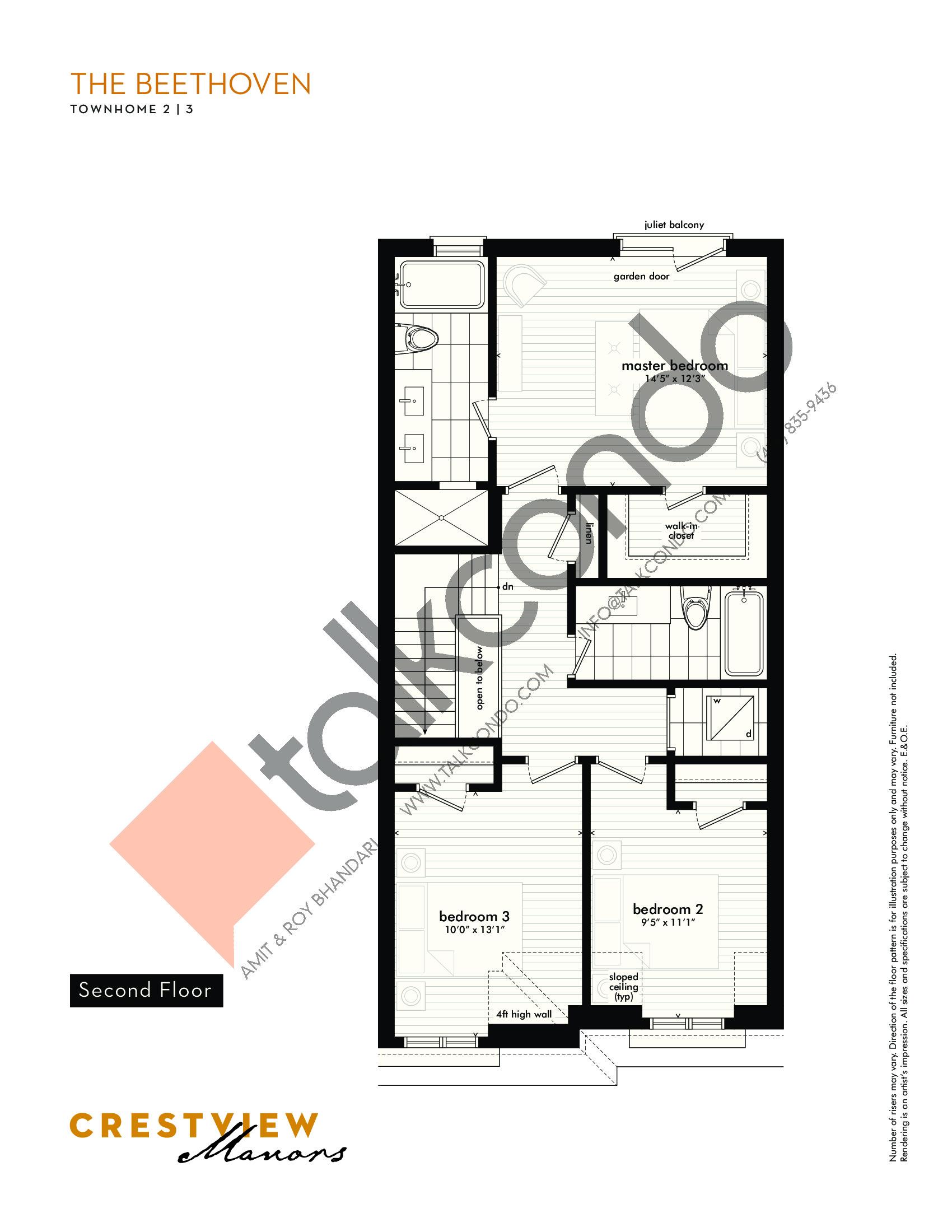 The Beethoven - Second Floor Floor Plan at Crestview Manors - 2362 sq.ft
