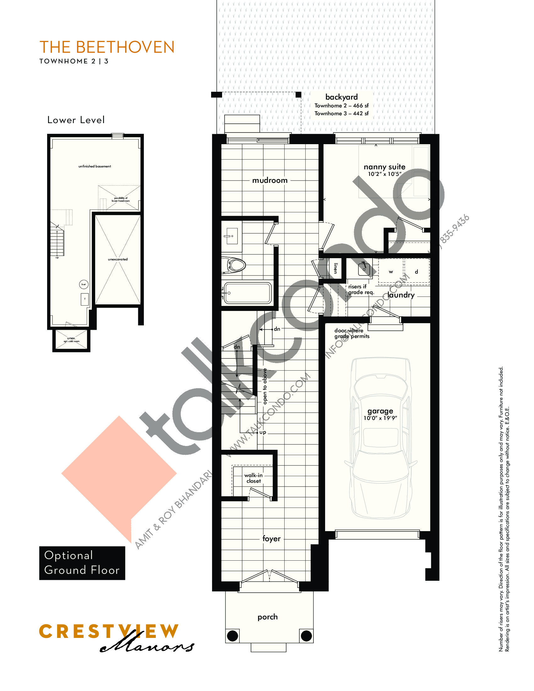 The Beethoven - Optional Ground Floor Floor Plan at Crestview Manors - 2362 sq.ft