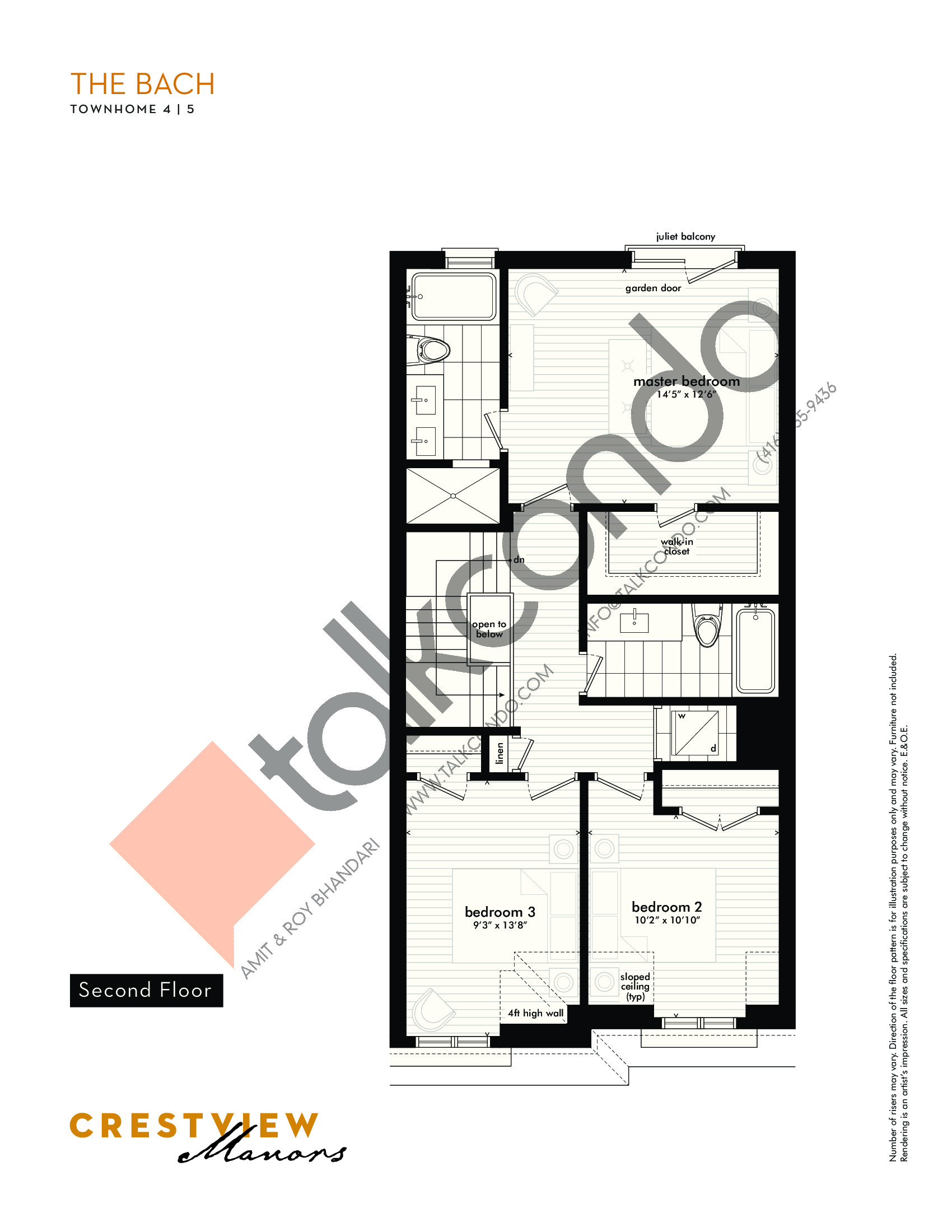 The Bach - Second Floor Floor Plan at Crestview Manors - 2333 sq.ft