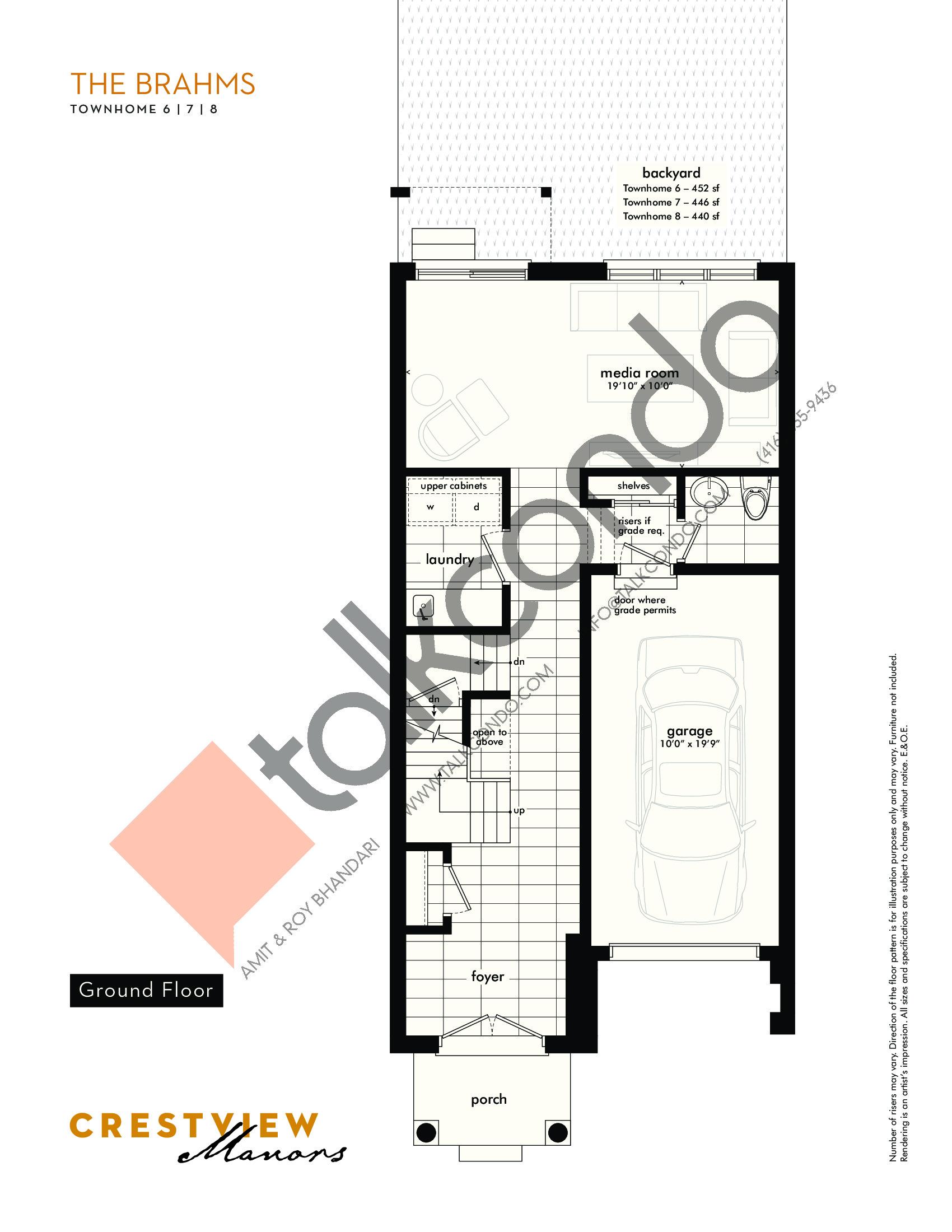 The Brahms - Ground Floor Floor Plan at Crestview Manors - 2282 sq.ft