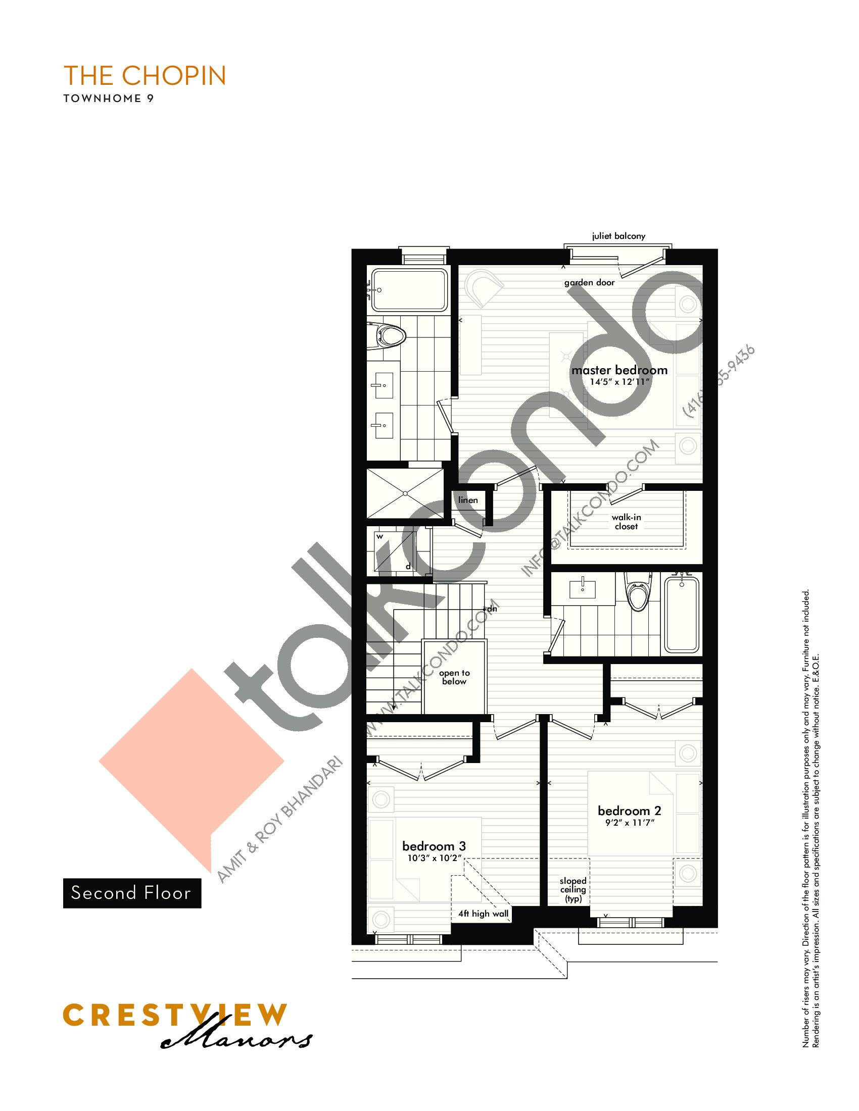 The Chopin - Second Floor Floor Plan at Crestview Manors - 2241 sq.ft