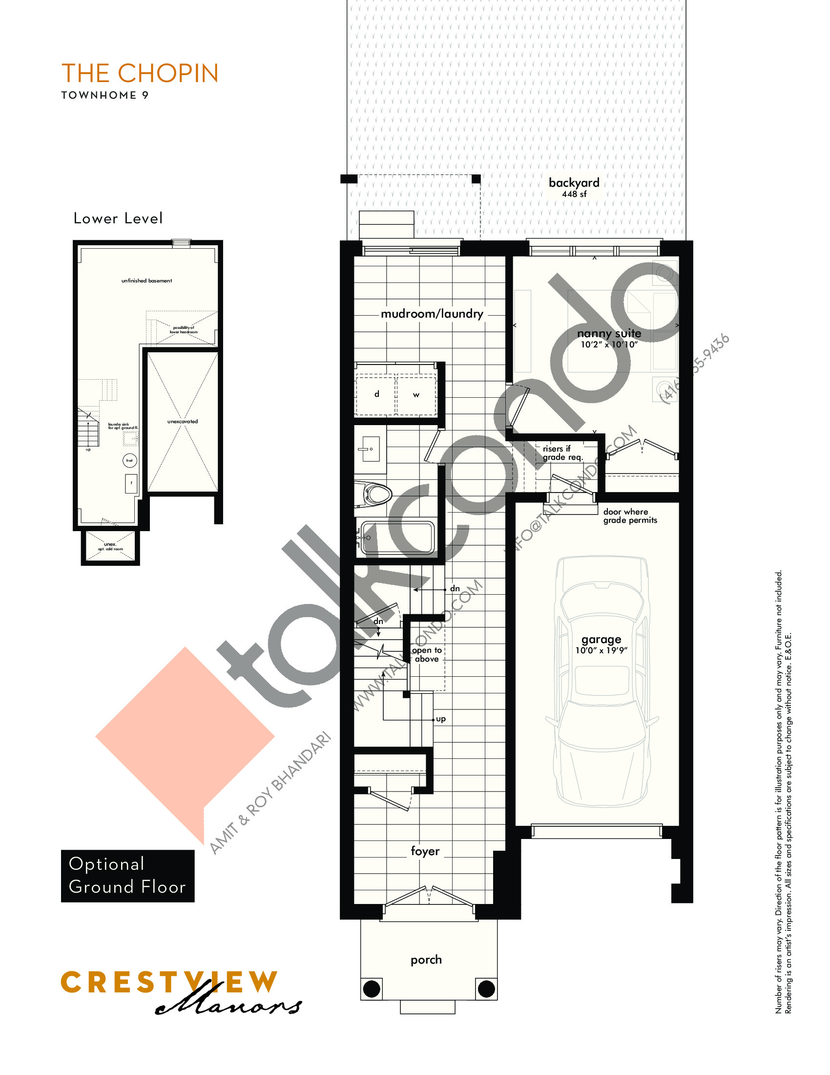 The Chopin - Optional Ground Floor Floor Plan at Crestview Manors - 2241 sq.ft