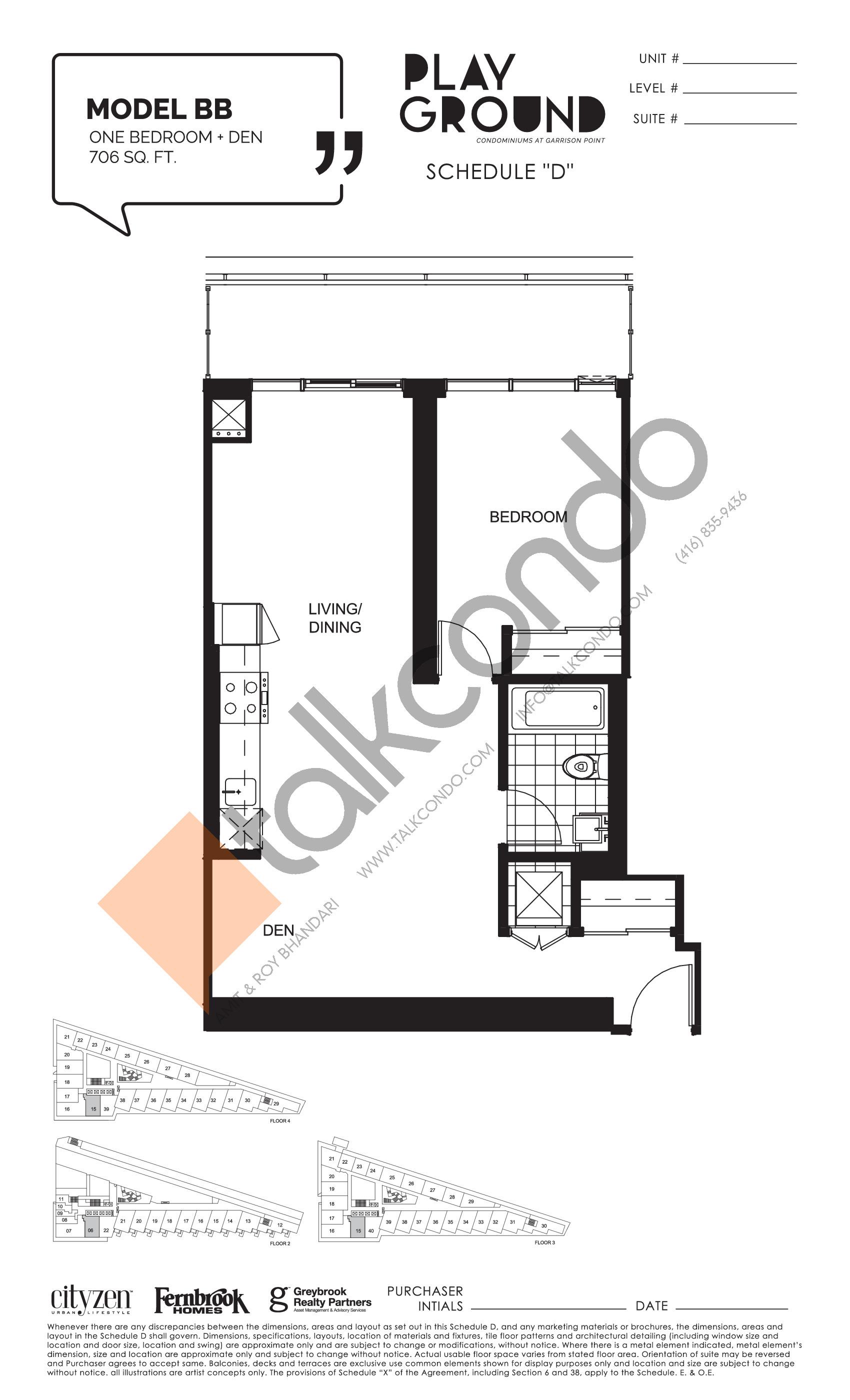 Model BB Floor Plan at Playground Condos at Garrison Point - 706 sq.ft