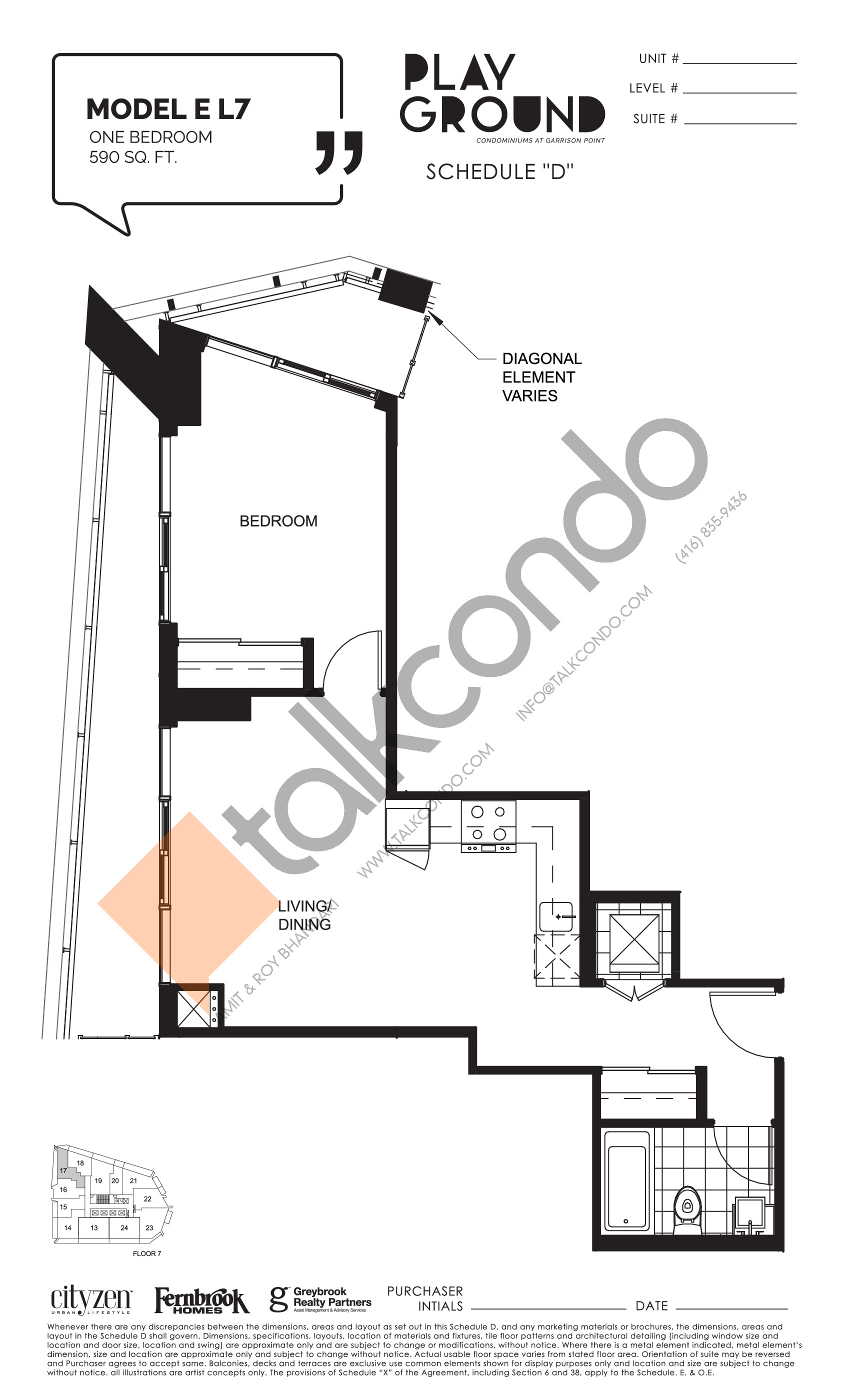 Model E L7 Floor Plan at Playground Condos at Garrison Point - 590 sq.ft