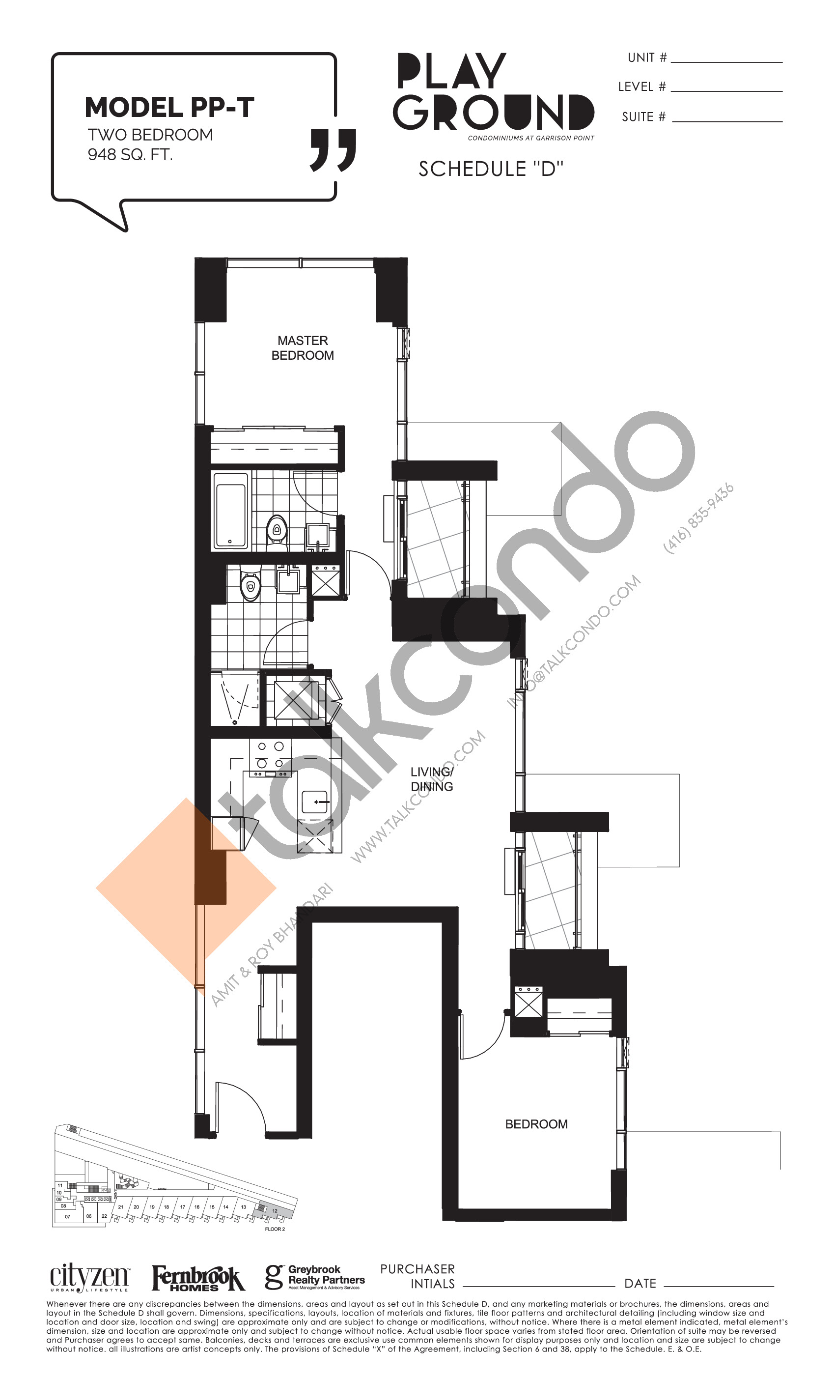 Model PP-T Floor Plan at Playground Condos at Garrison Point - 948 sq.ft