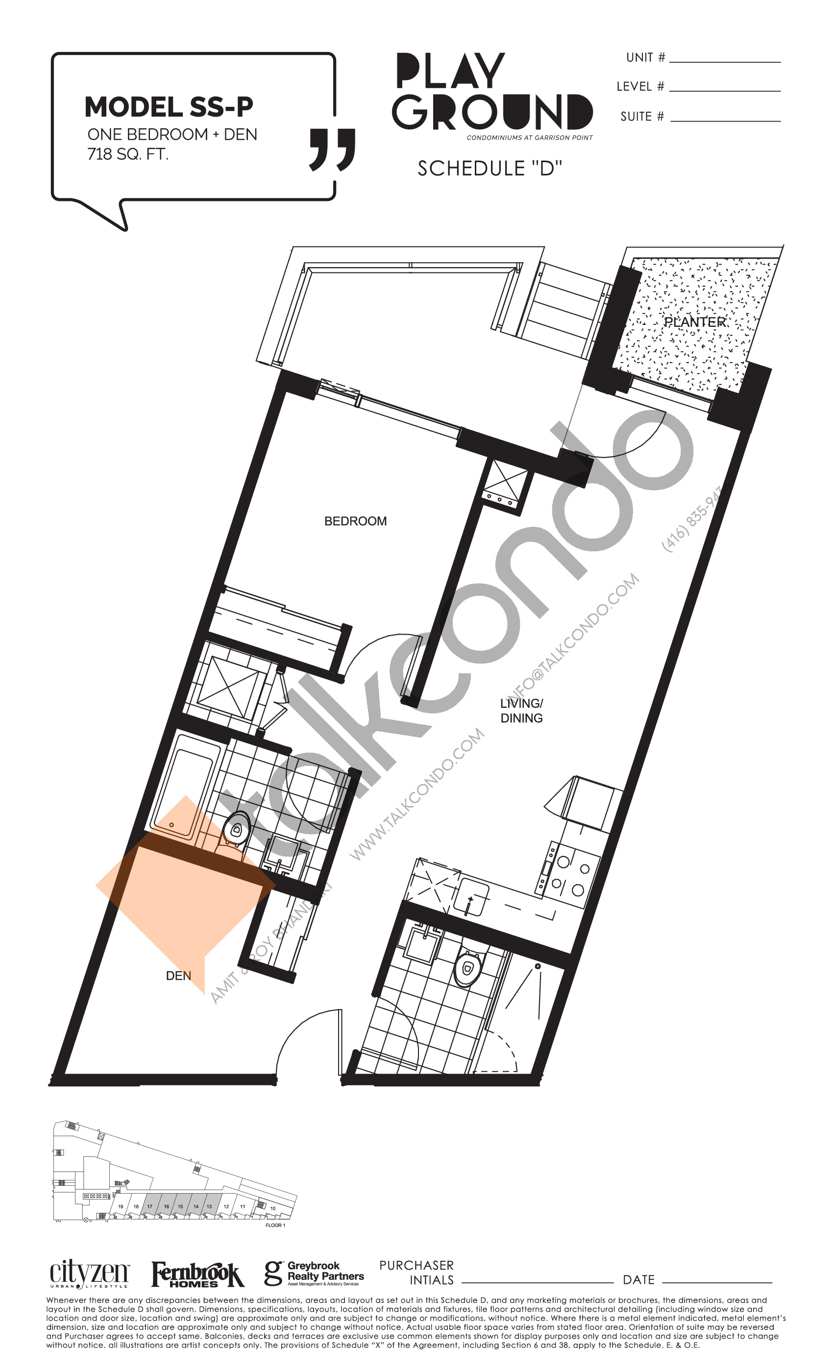Model SS-P Floor Plan at Playground Condos at Garrison Point - 718 sq.ft