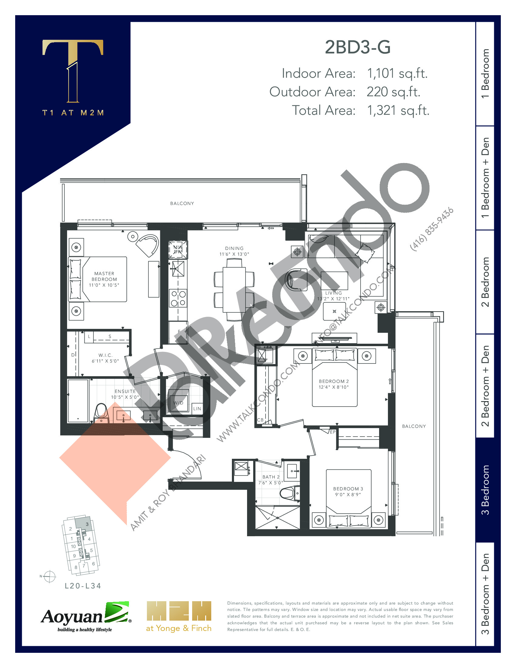 2BD3-G (Tower) Floor Plan at T1 at M2M Condos - 1101 sq.ft