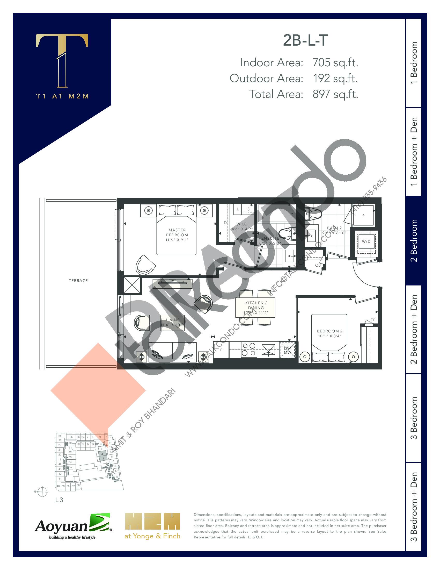 2B-L-T (Podium) Floor Plan at T1 at M2M Condos - 705 sq.ft
