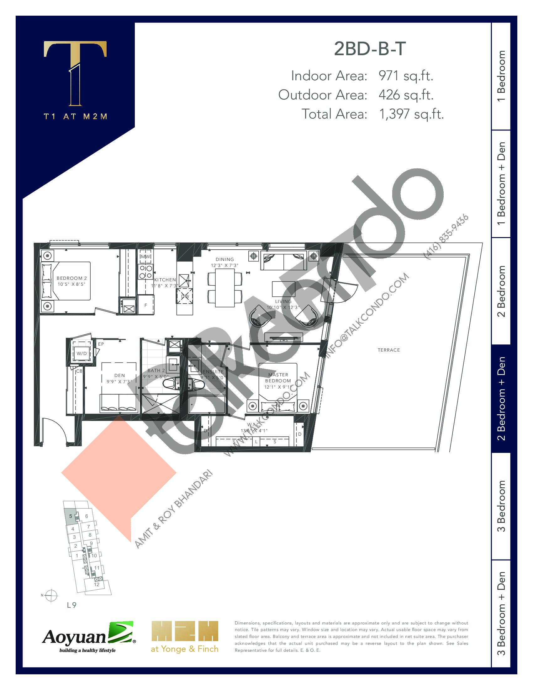 2BD-B-T (Podium) Floor Plan at T1 at M2M Condos - 971 sq.ft