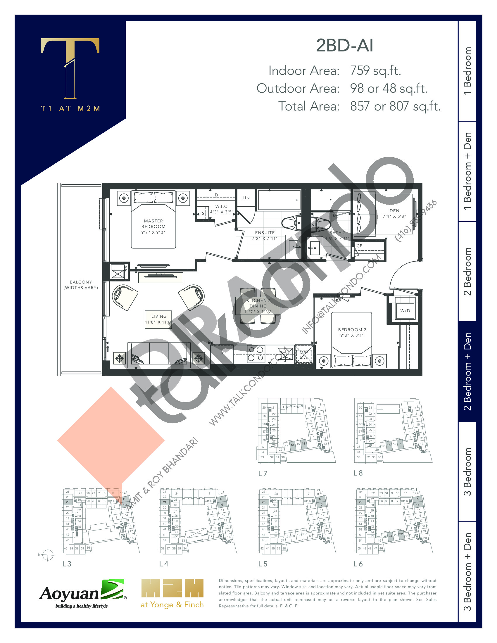 2BD-AI (Podium) Floor Plan at T1 at M2M Condos - 759 sq.ft