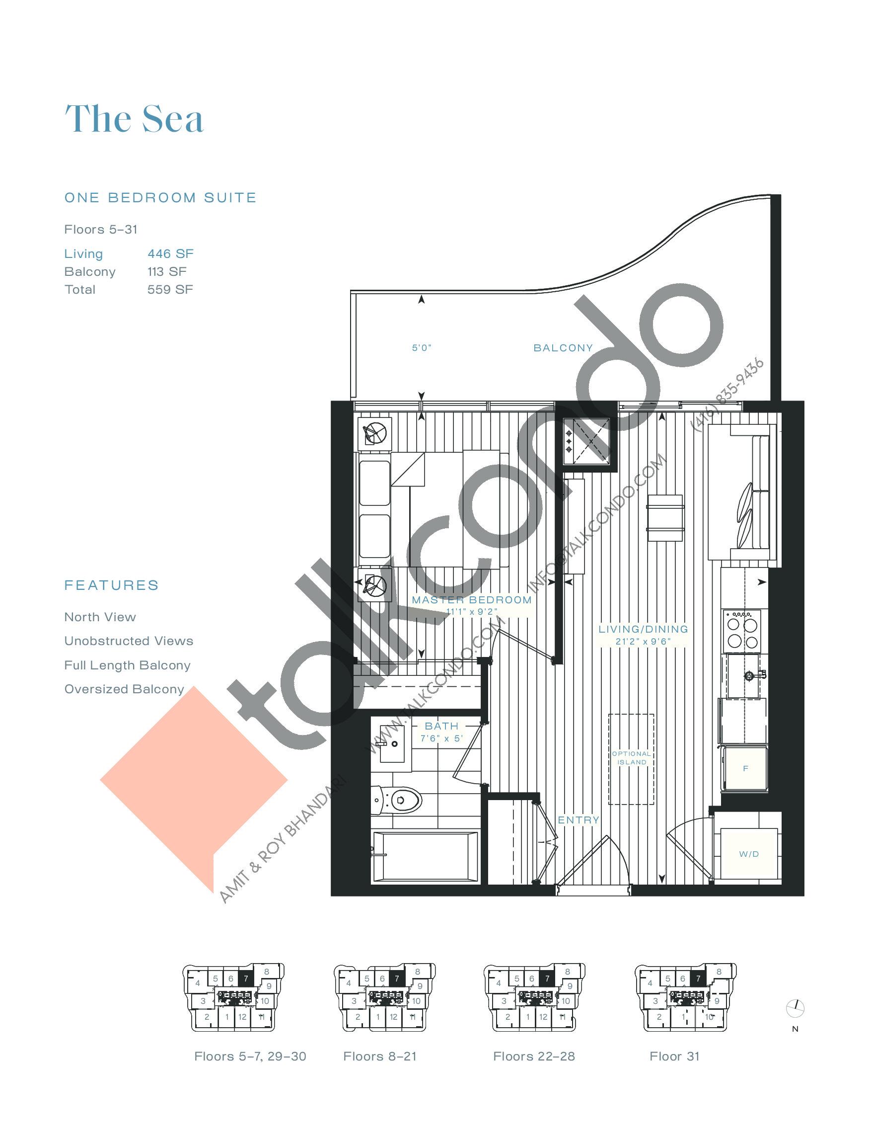 The Sea (Terrace) Floor Plan at Azura Condos - 446 sq.ft