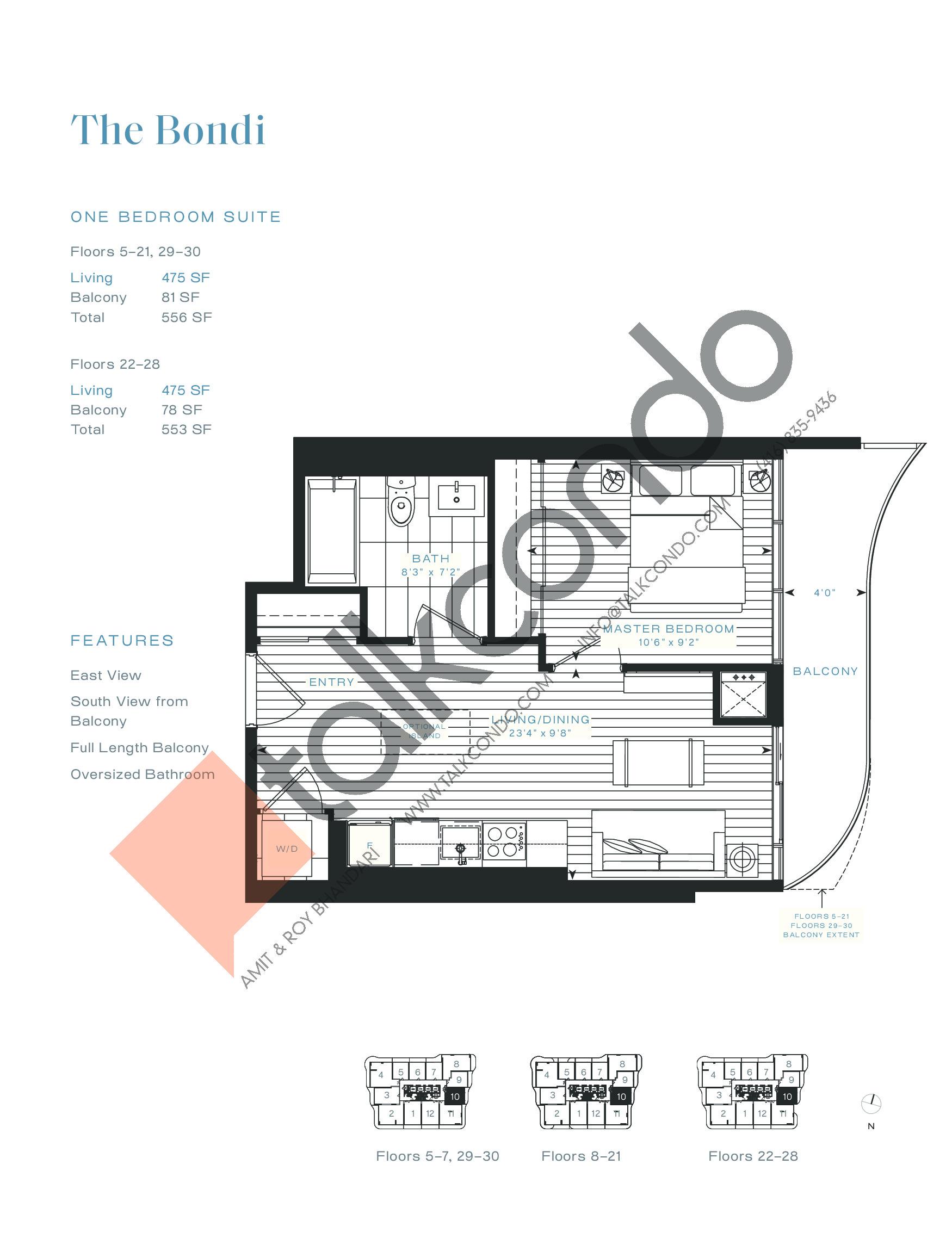 The Bondi Floor Plan at Azura Condos - 475 sq.ft