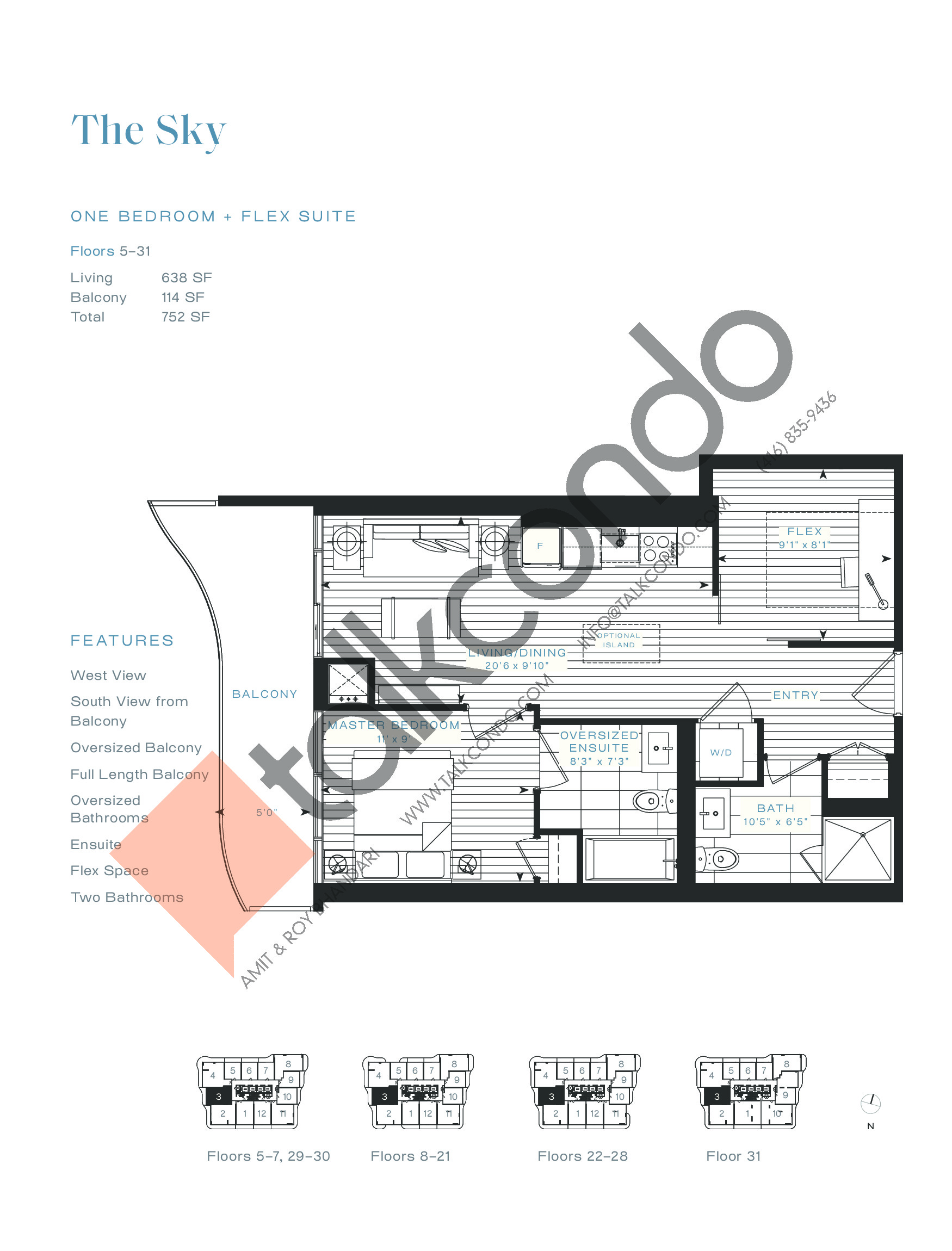 The Sky (Terrace) Floor Plan at Azura Condos - 638 sq.ft