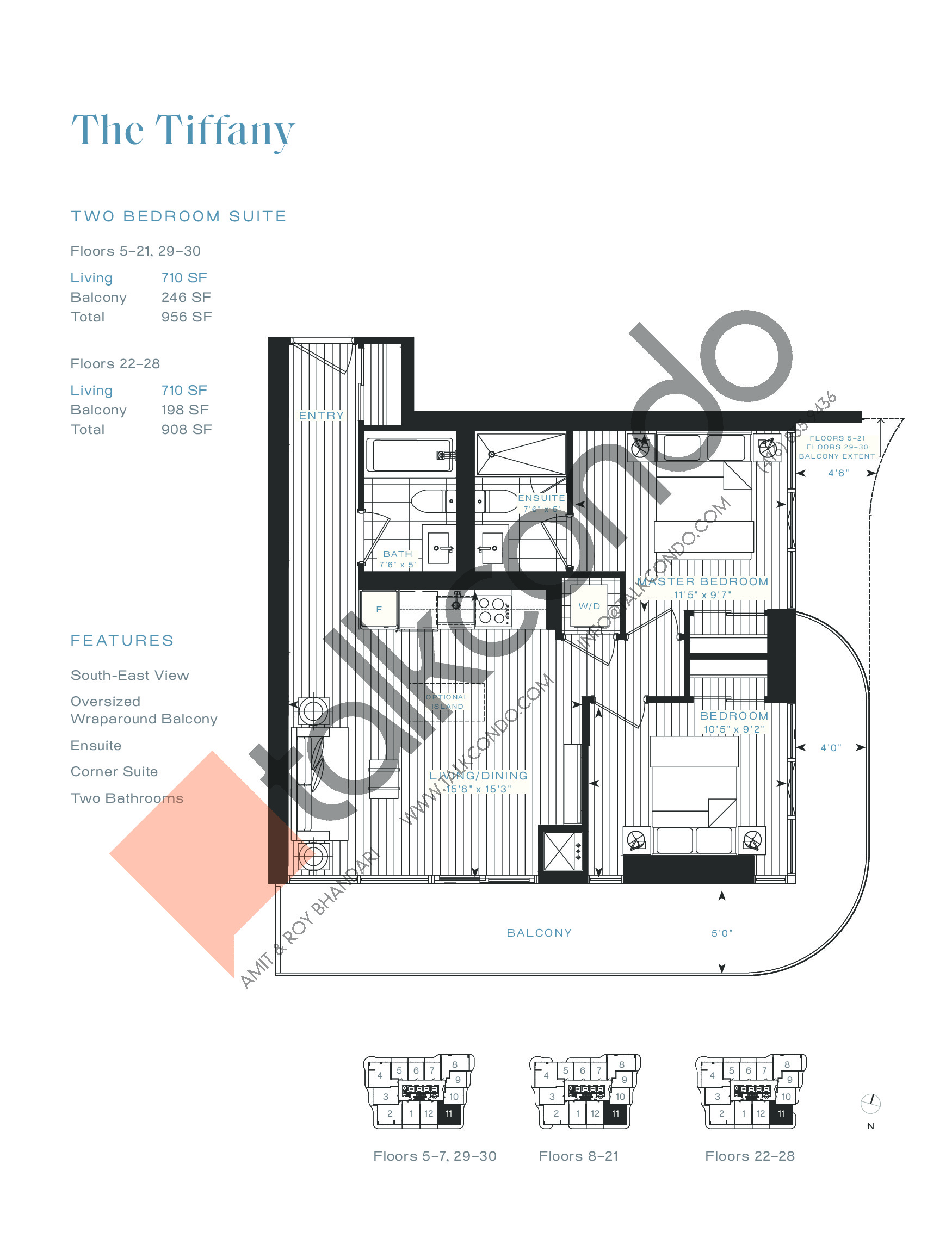 The Tiffany Floor Plan at Azura Condos - 710 sq.ft