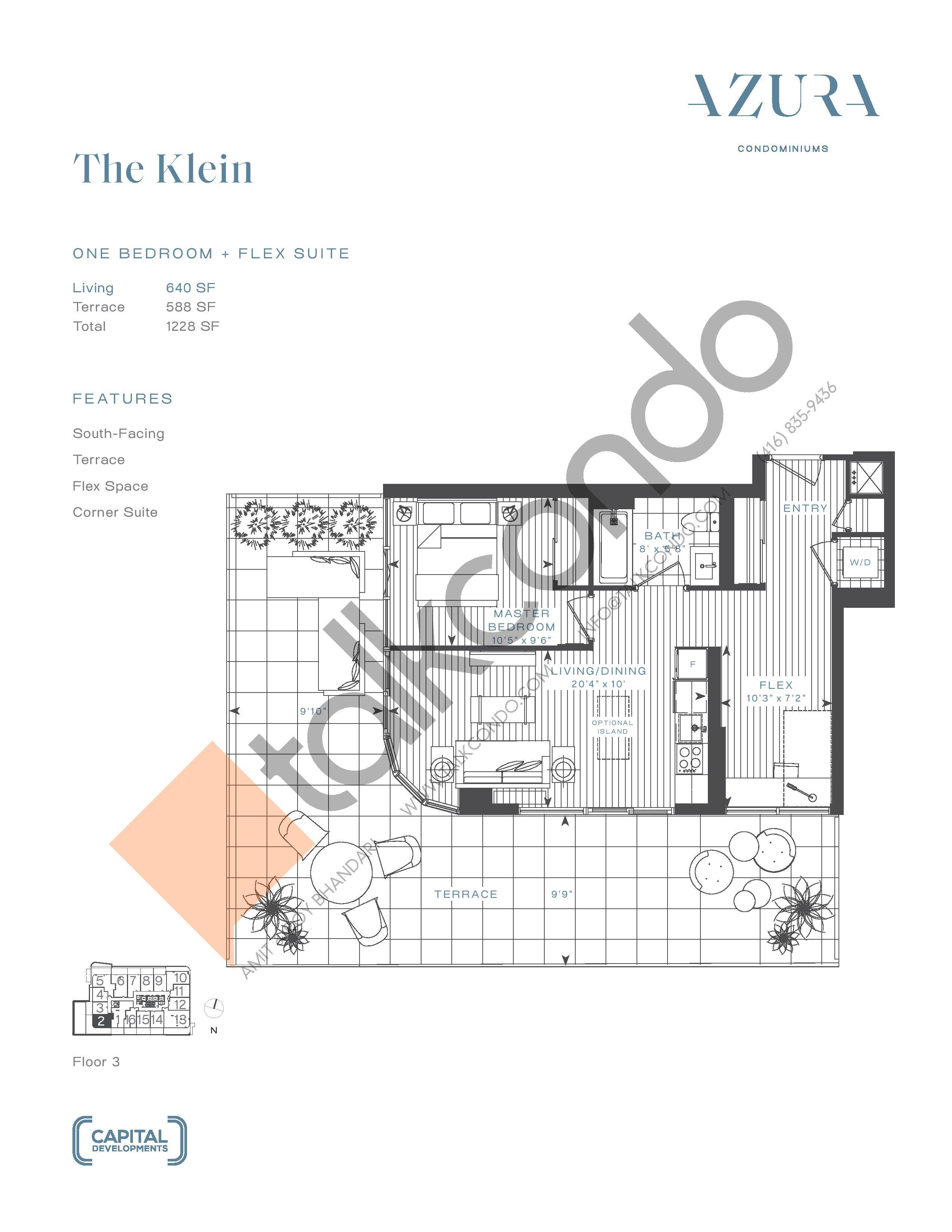 The Klein Floor Plan at Azura Condos - 640 sq.ft