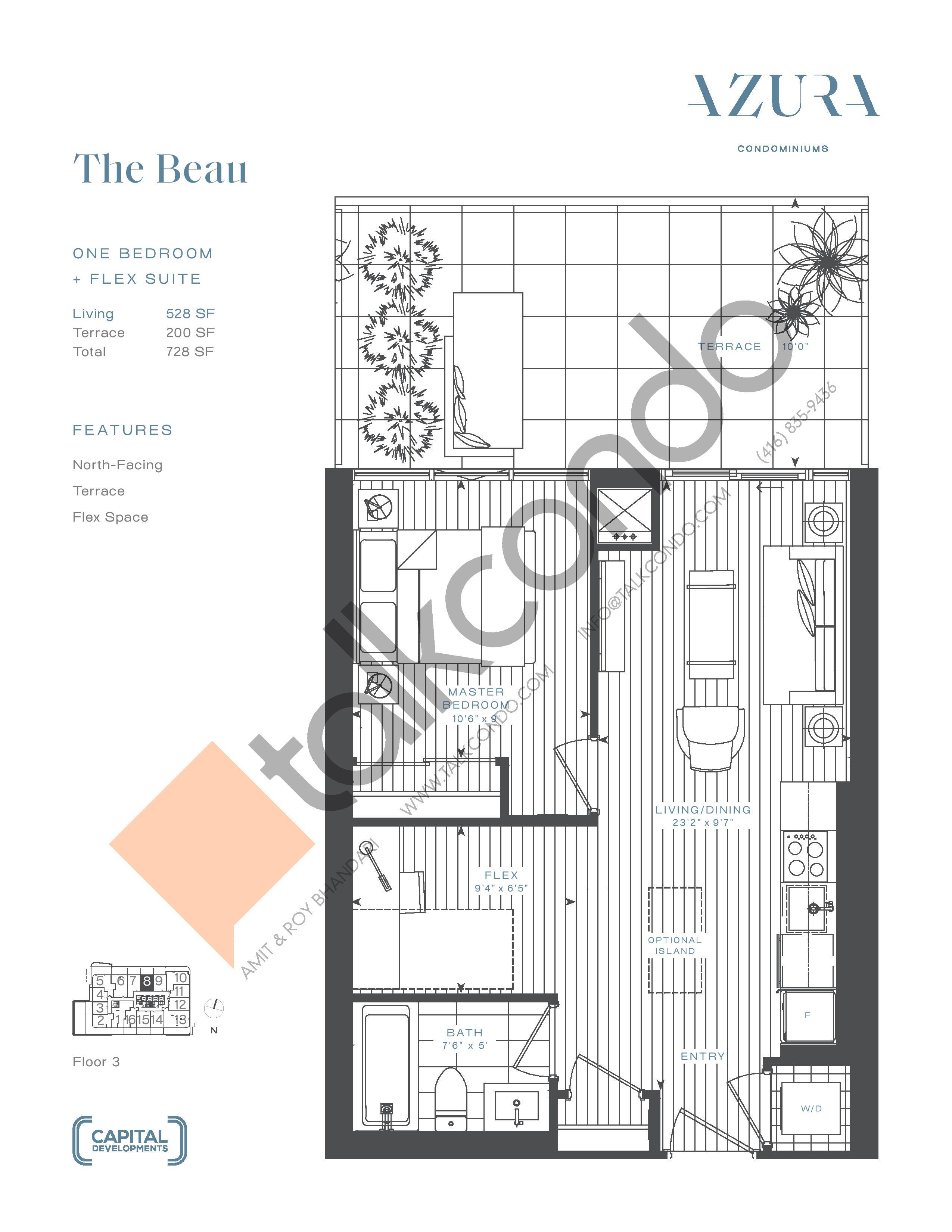 The Beau Floor Plan at Azura Condos - 528 sq.ft