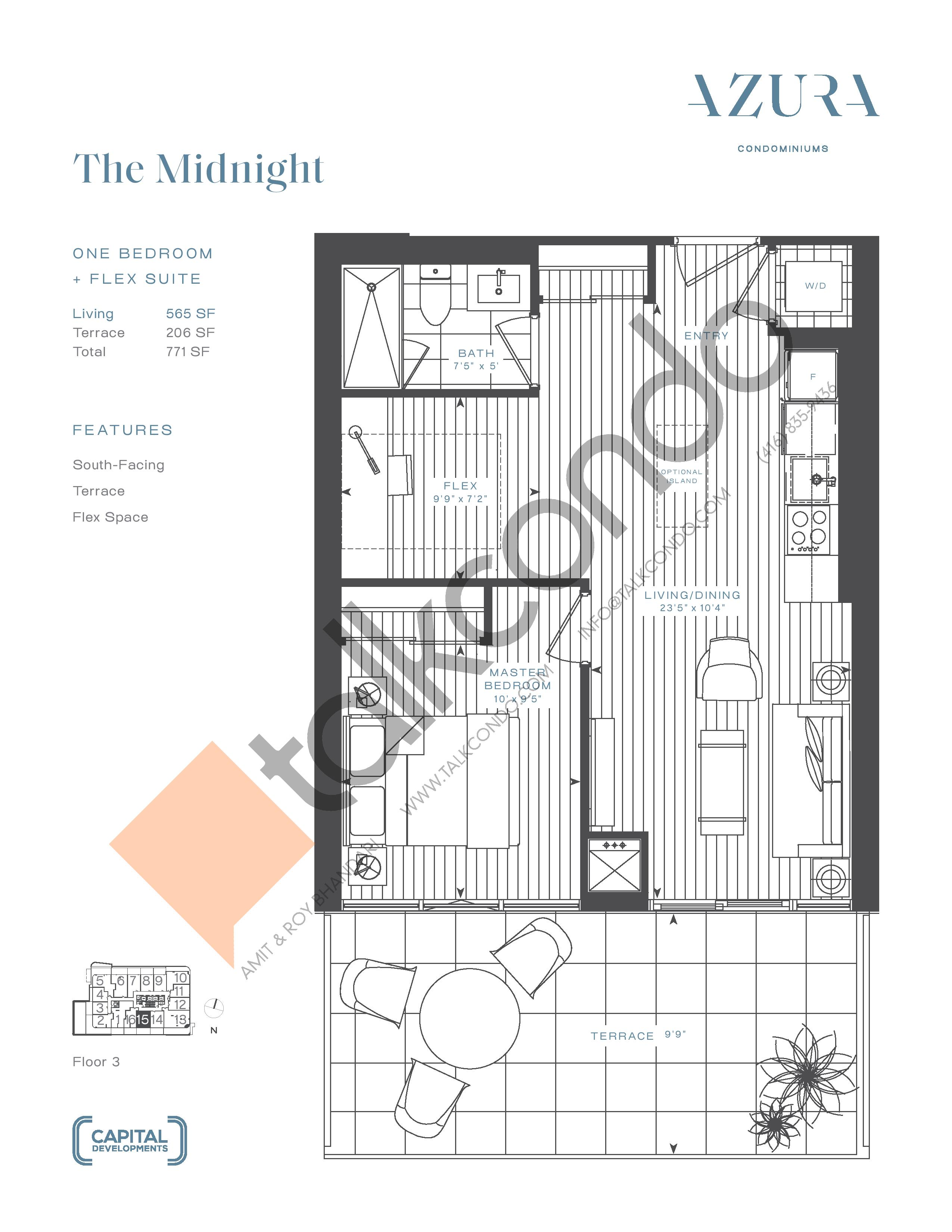 The Midnight (Terrace) Floor Plan at Azura Condos - 565 sq.ft