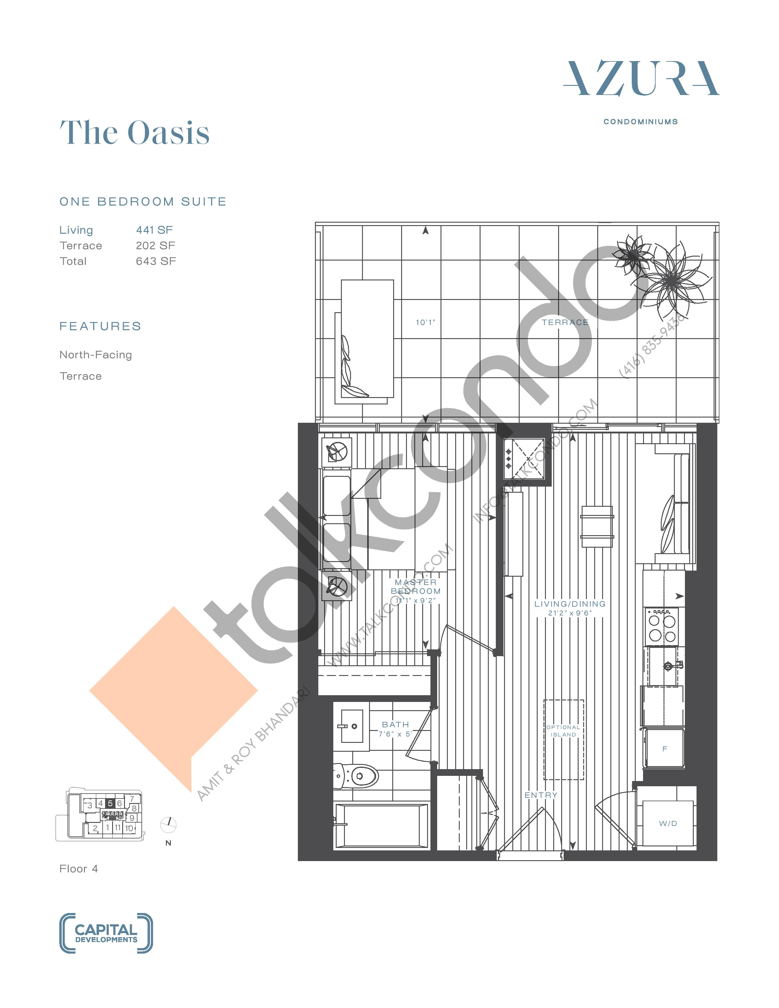 The Oasis Floor Plan at Azura Condos - 441 sq.ft