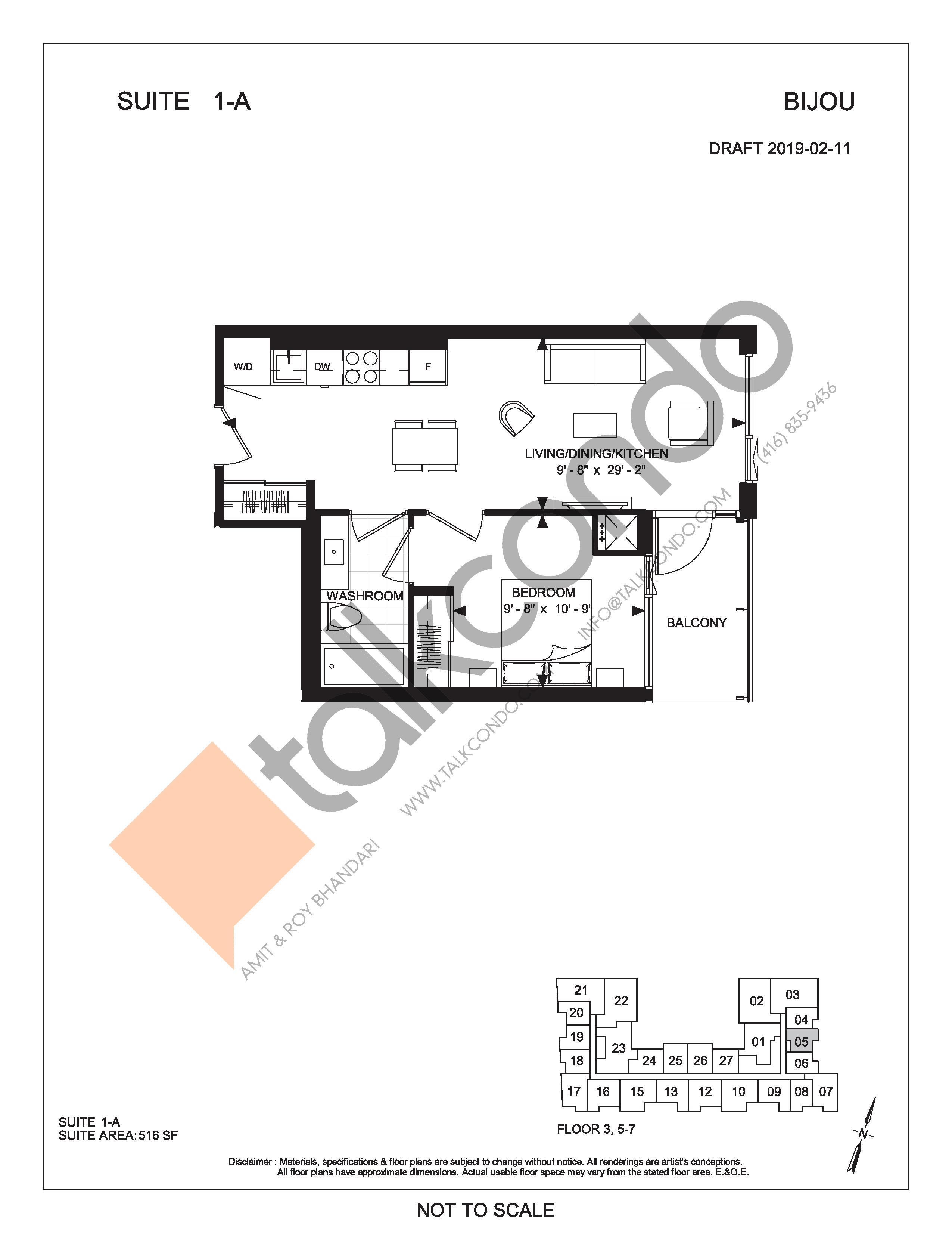 Suite 1-A Floor Plan at Bijou On Bloor Condos - 516 sq.ft