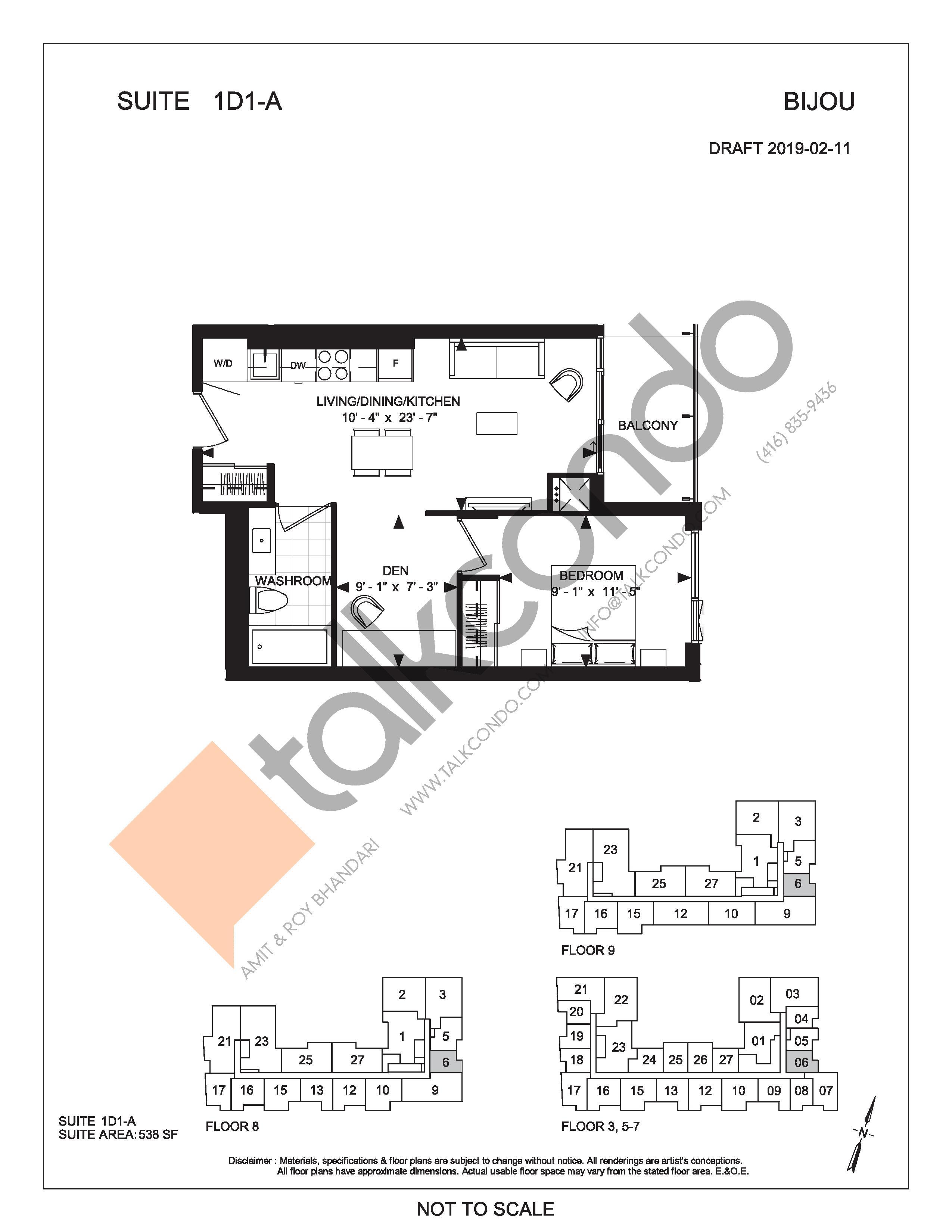 Suite 1D1-A Floor Plan at Bijou On Bloor Condos - 538 sq.ft