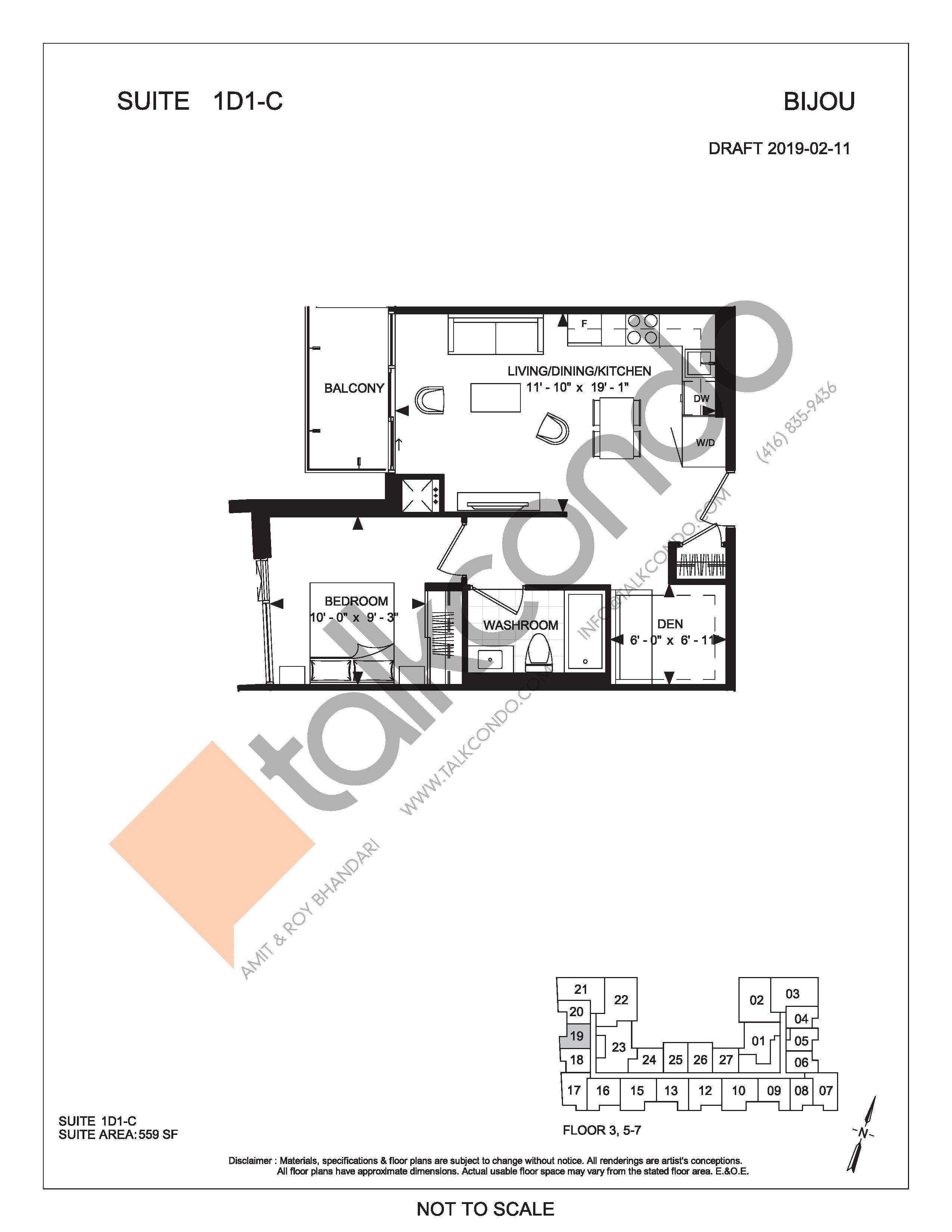Suite 1D1-C Floor Plan at Bijou On Bloor Condos - 559 sq.ft