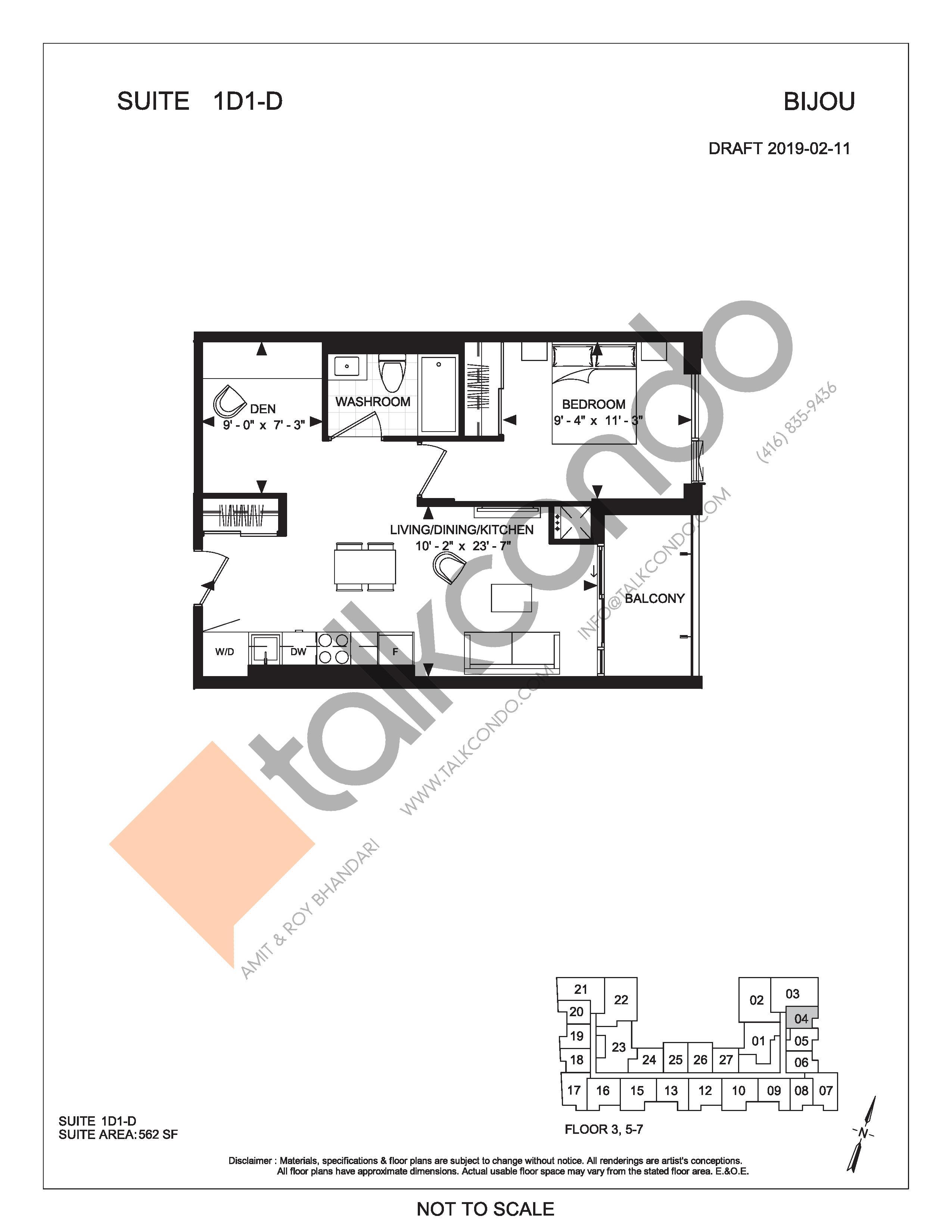 Suite 1D1-D Floor Plan at Bijou On Bloor Condos - 562 sq.ft