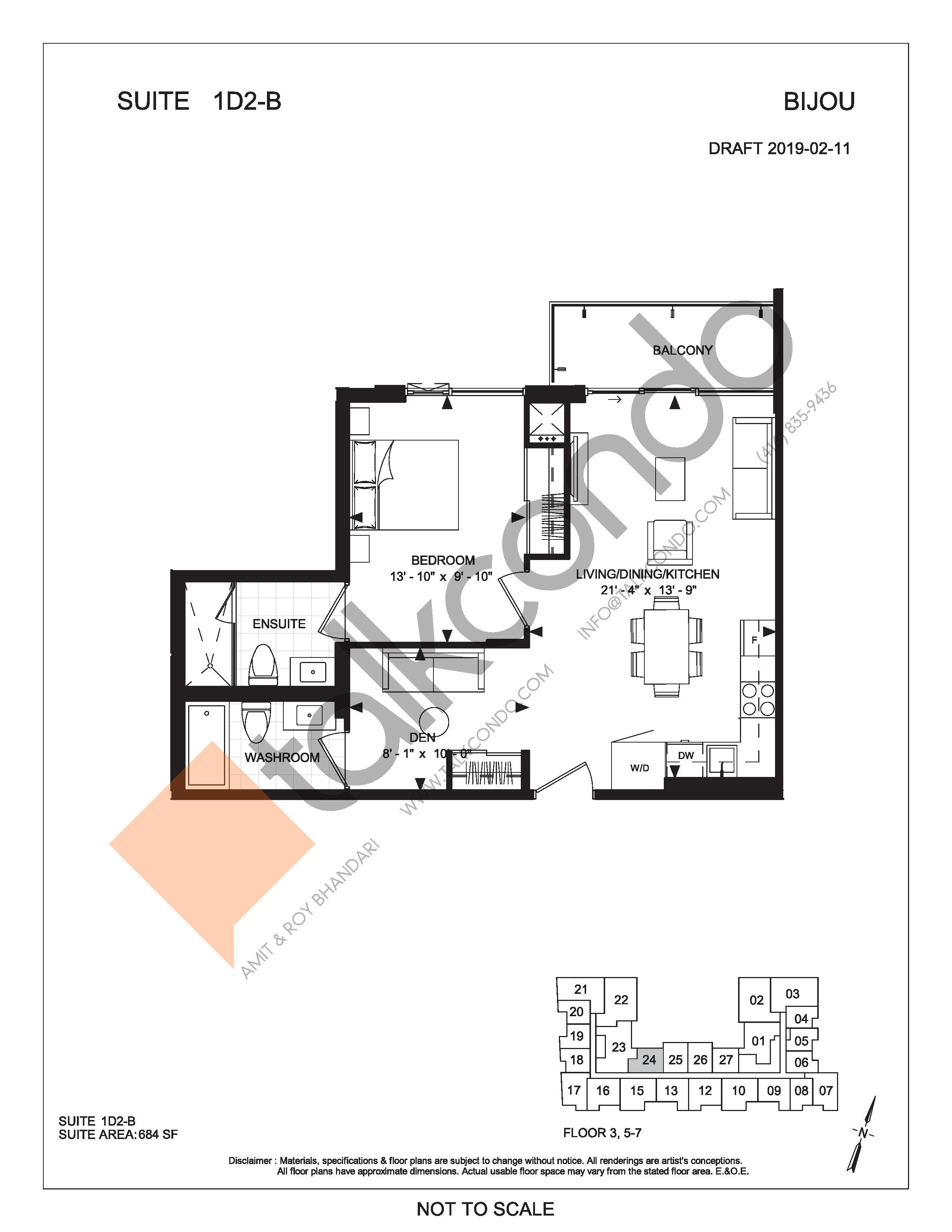 Suite 1D2-B Floor Plan at Bijou On Bloor Condos - 684 sq.ft