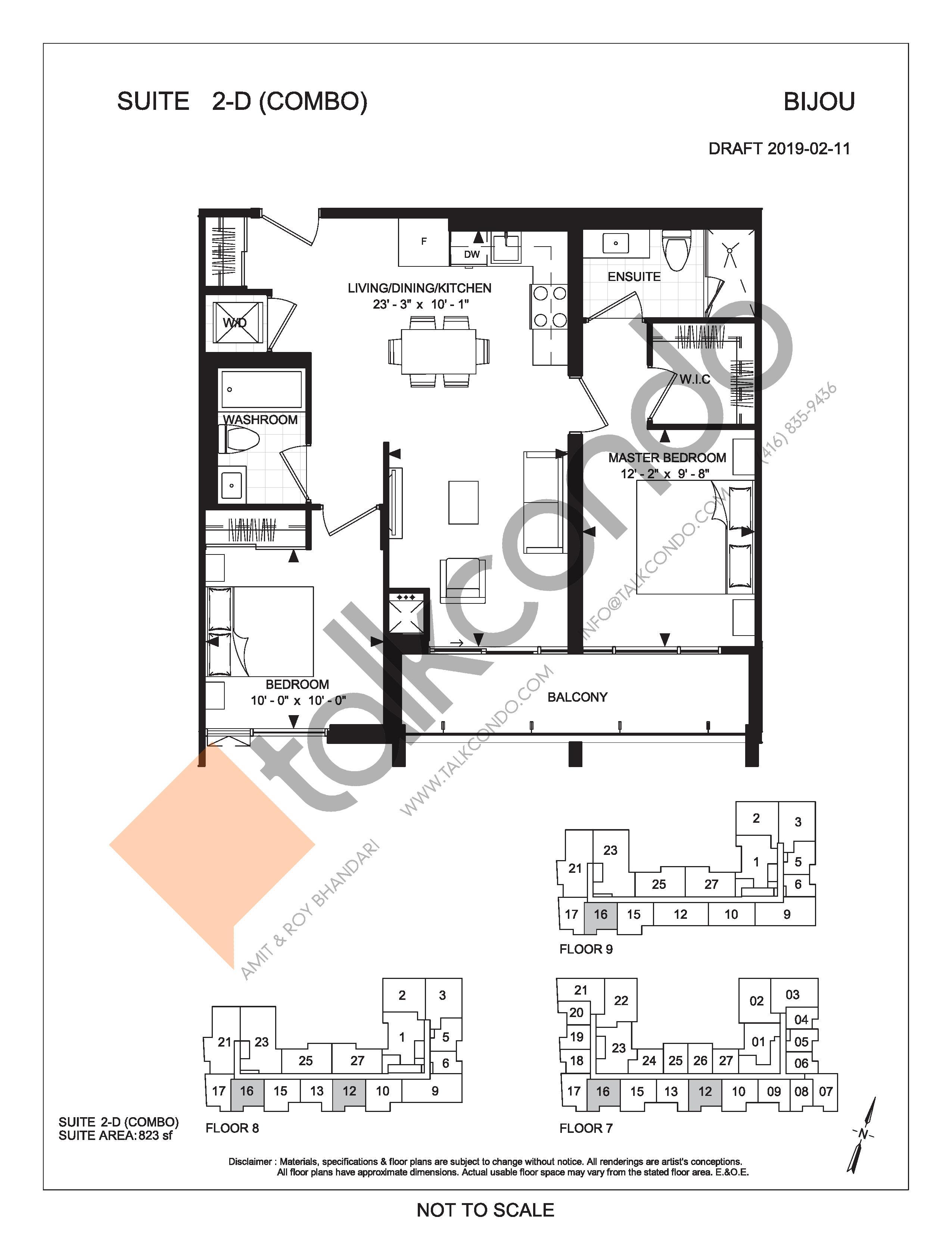 Suite 2-D (Combo) Floor Plan at Bijou On Bloor Condos - 823 sq.ft