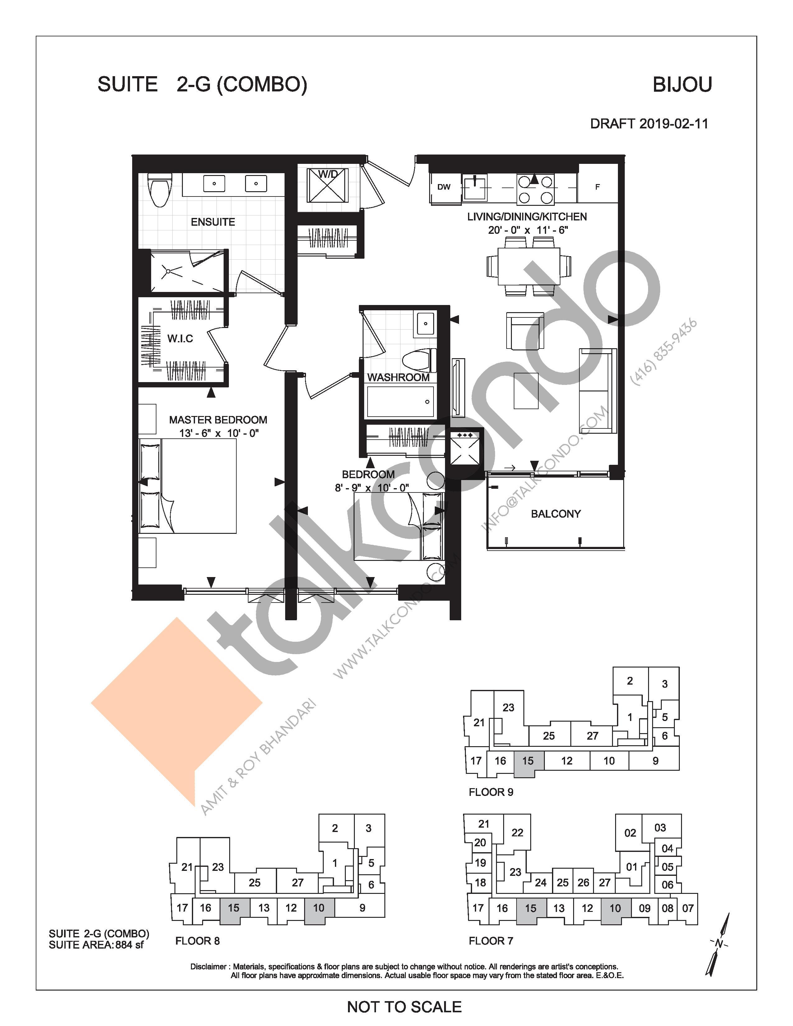 Suite 2-G (Combo) Floor Plan at Bijou On Bloor Condos - 884 sq.ft