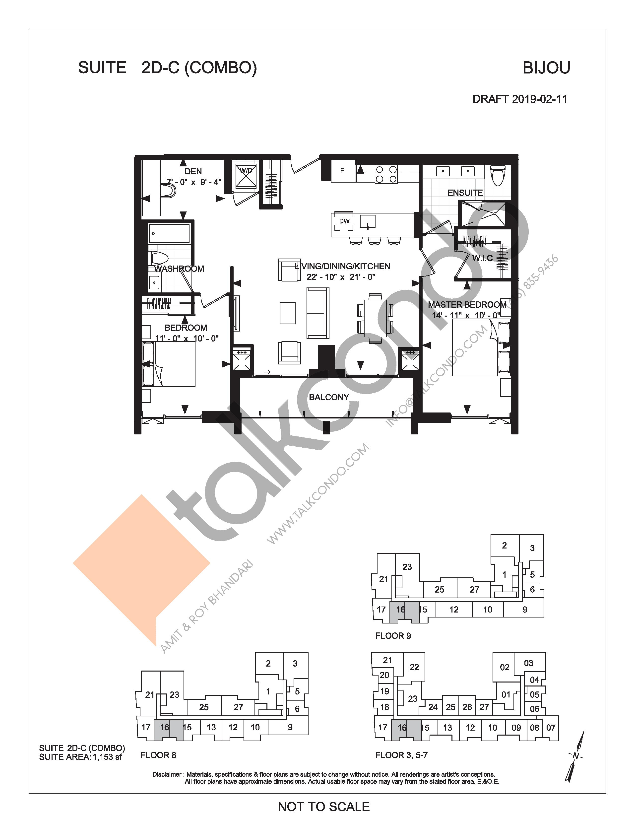 Suite 2D-C (Combo) Floor Plan at Bijou On Bloor Condos - 1153 sq.ft