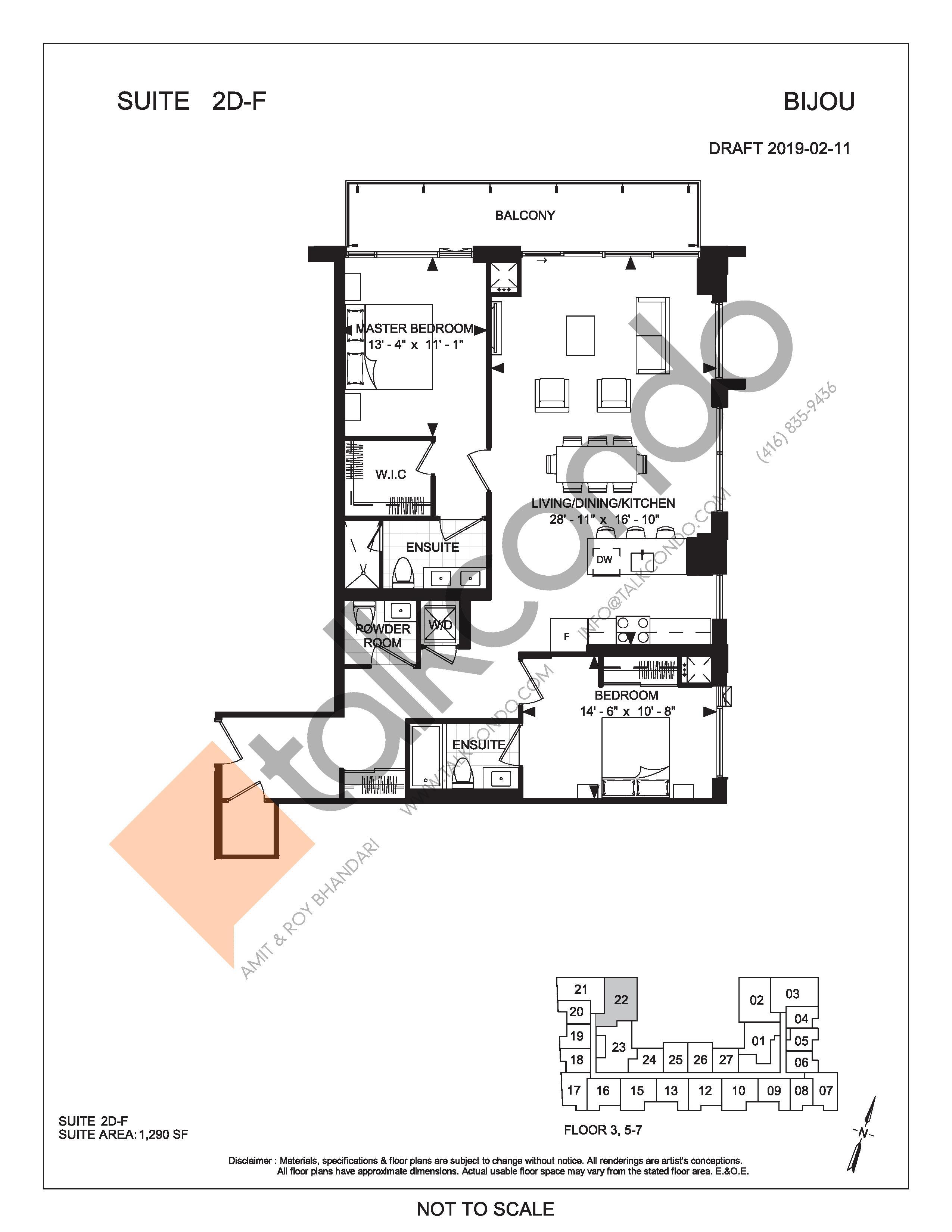 Suite 2D-F Floor Plan at Bijou On Bloor Condos - 1290 sq.ft