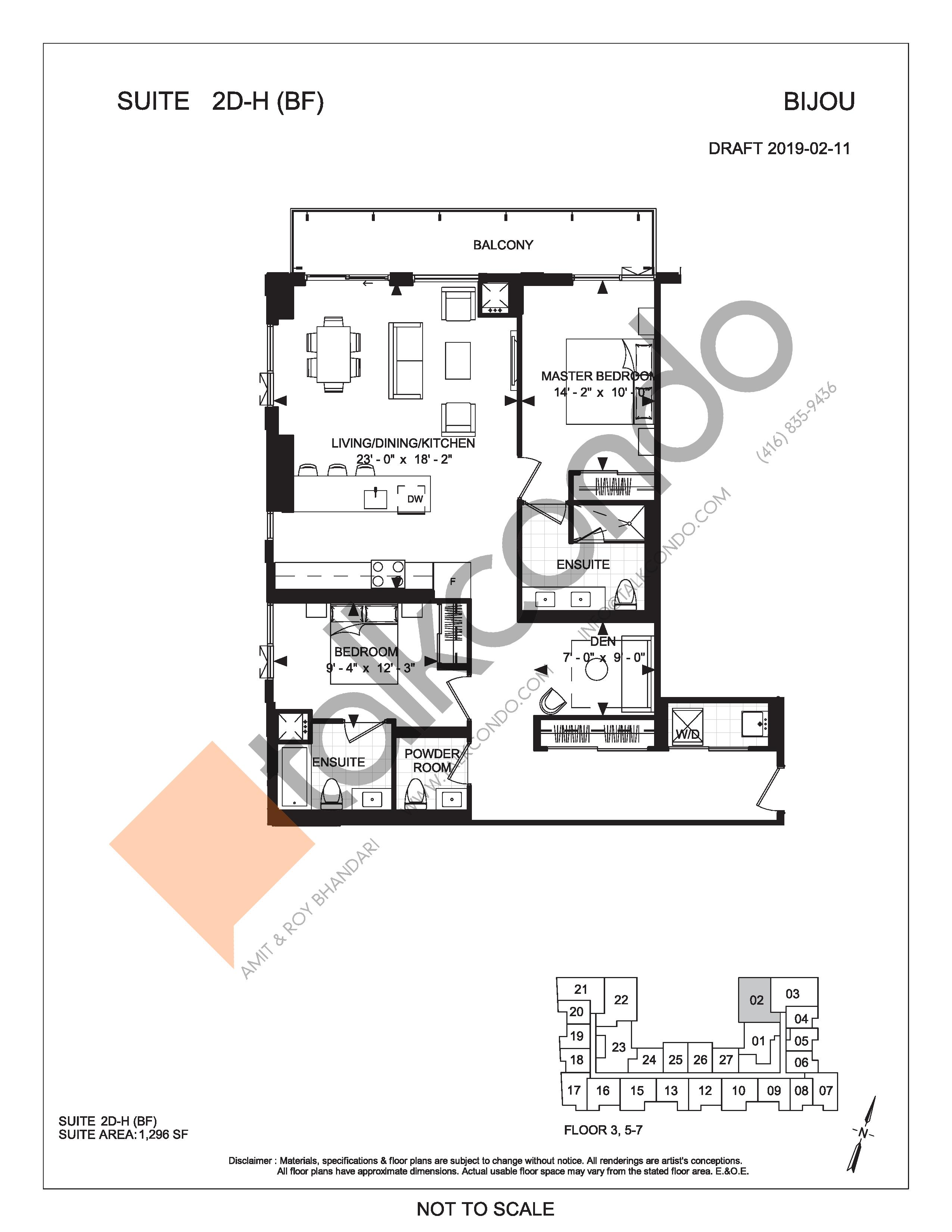 Suite 2D-H (BF) Floor Plan at Bijou On Bloor Condos - 1296 sq.ft