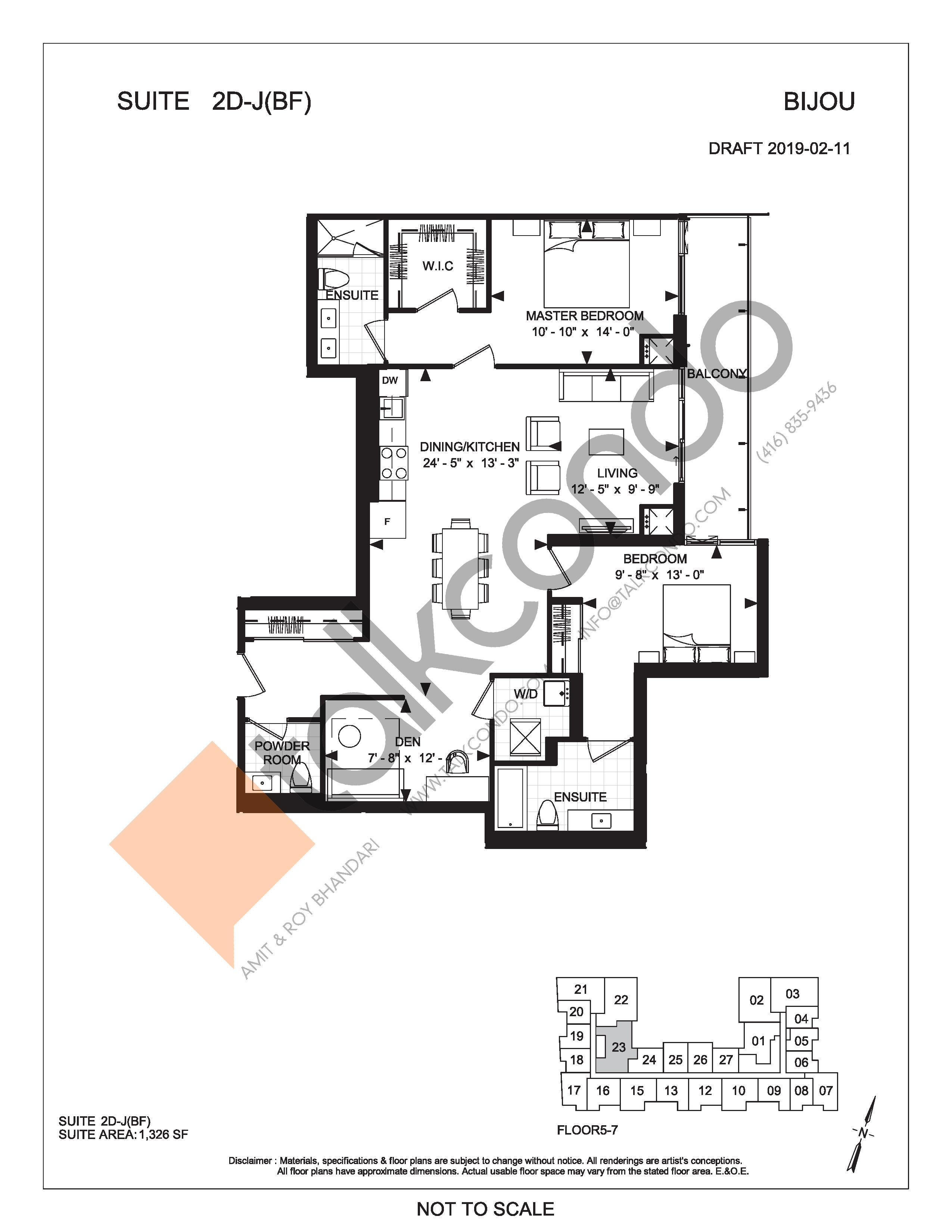 Suite 2D-J (BF) Floor Plan at Bijou On Bloor Condos - 1326 sq.ft