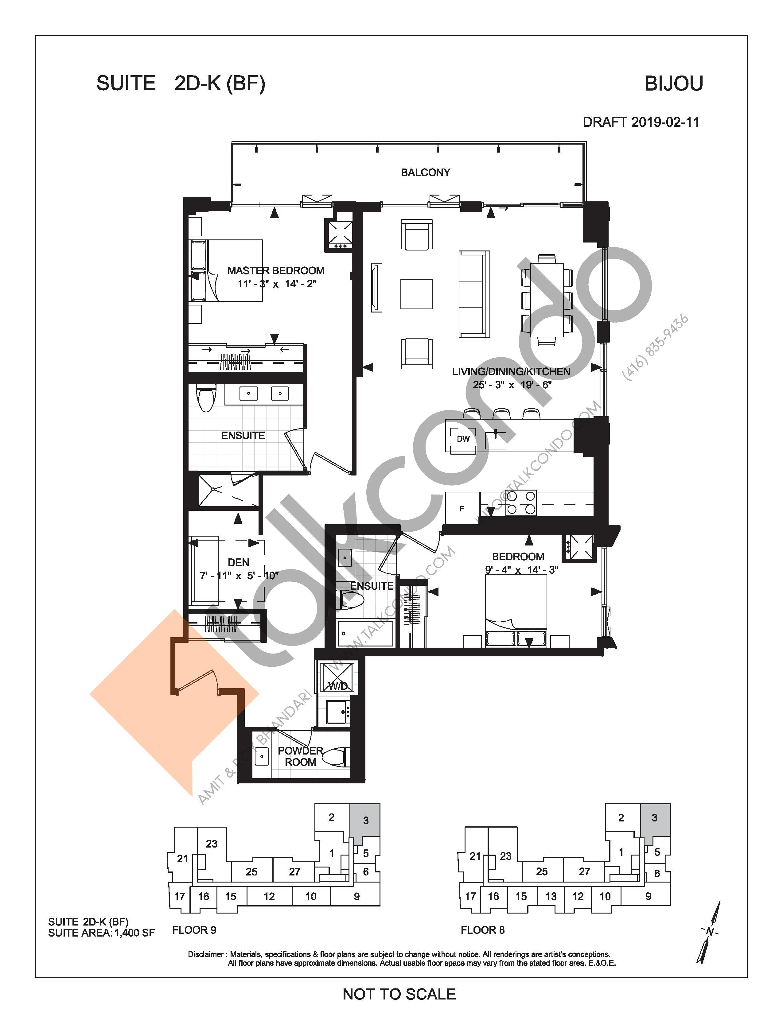 Suite 2D-K (BF) Floor Plan at Bijou On Bloor Condos - 1400 sq.ft