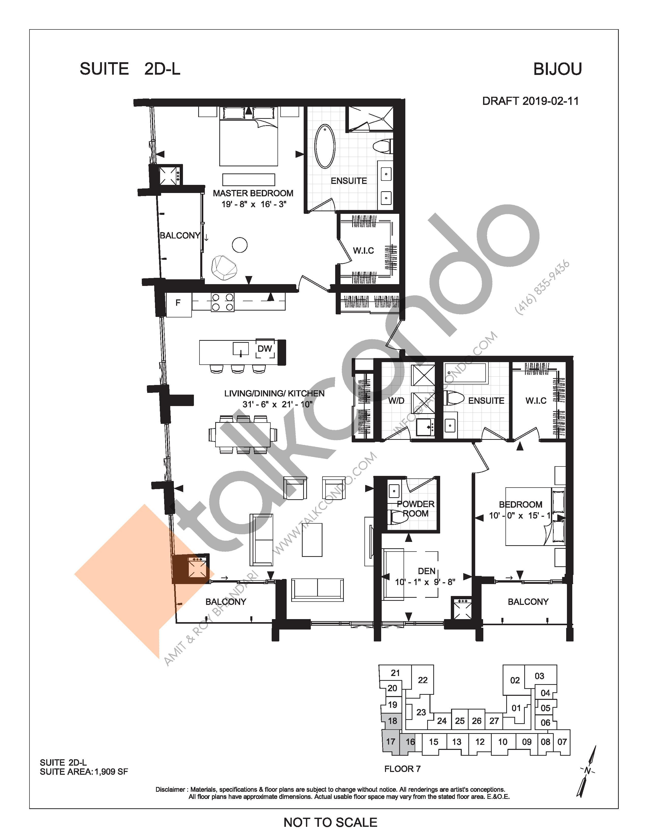 Suite 2D-L Floor Plan at Bijou On Bloor Condos - 1909 sq.ft