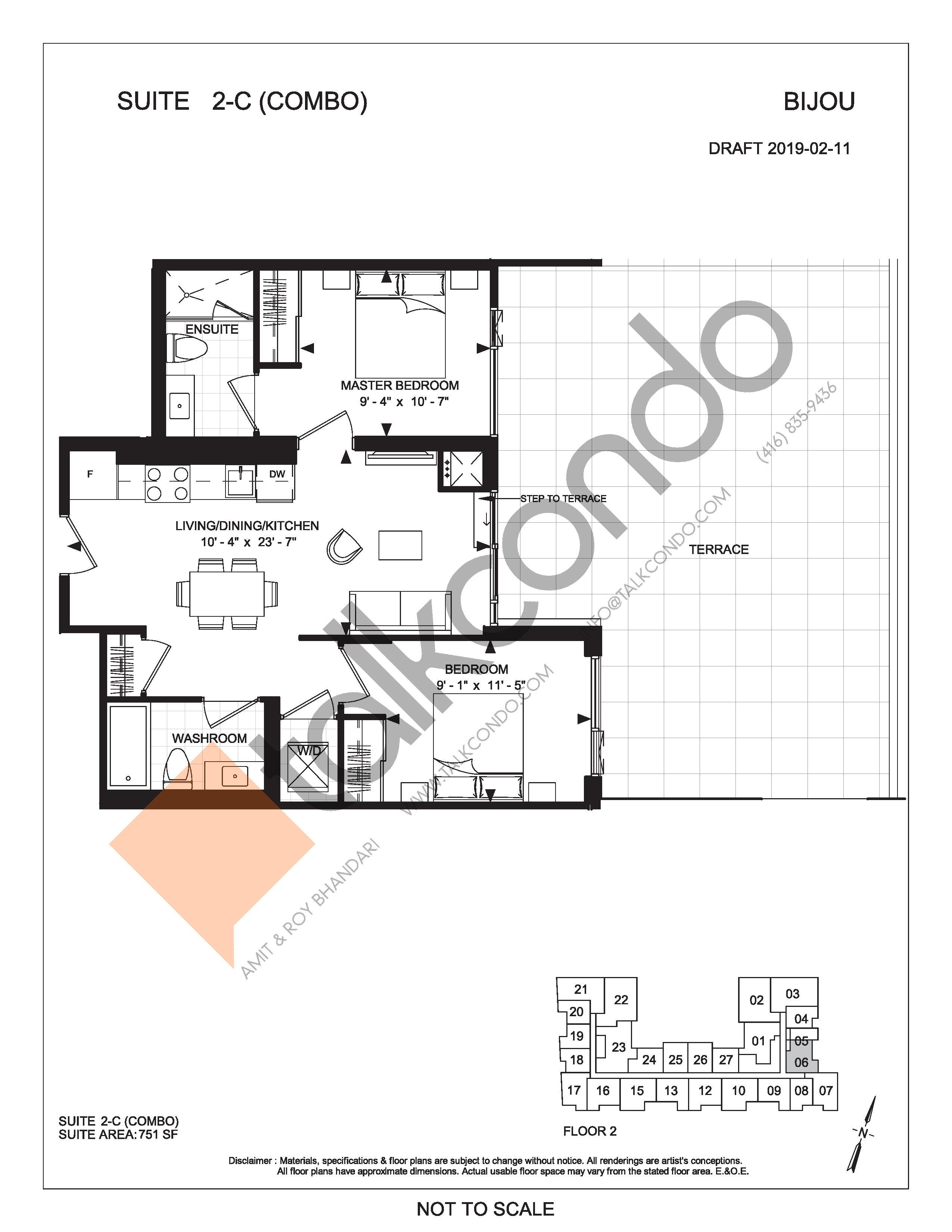 Suite 2-C (Combo) (Terrace) Floor Plan at Bijou On Bloor Condos - 751 sq.ft