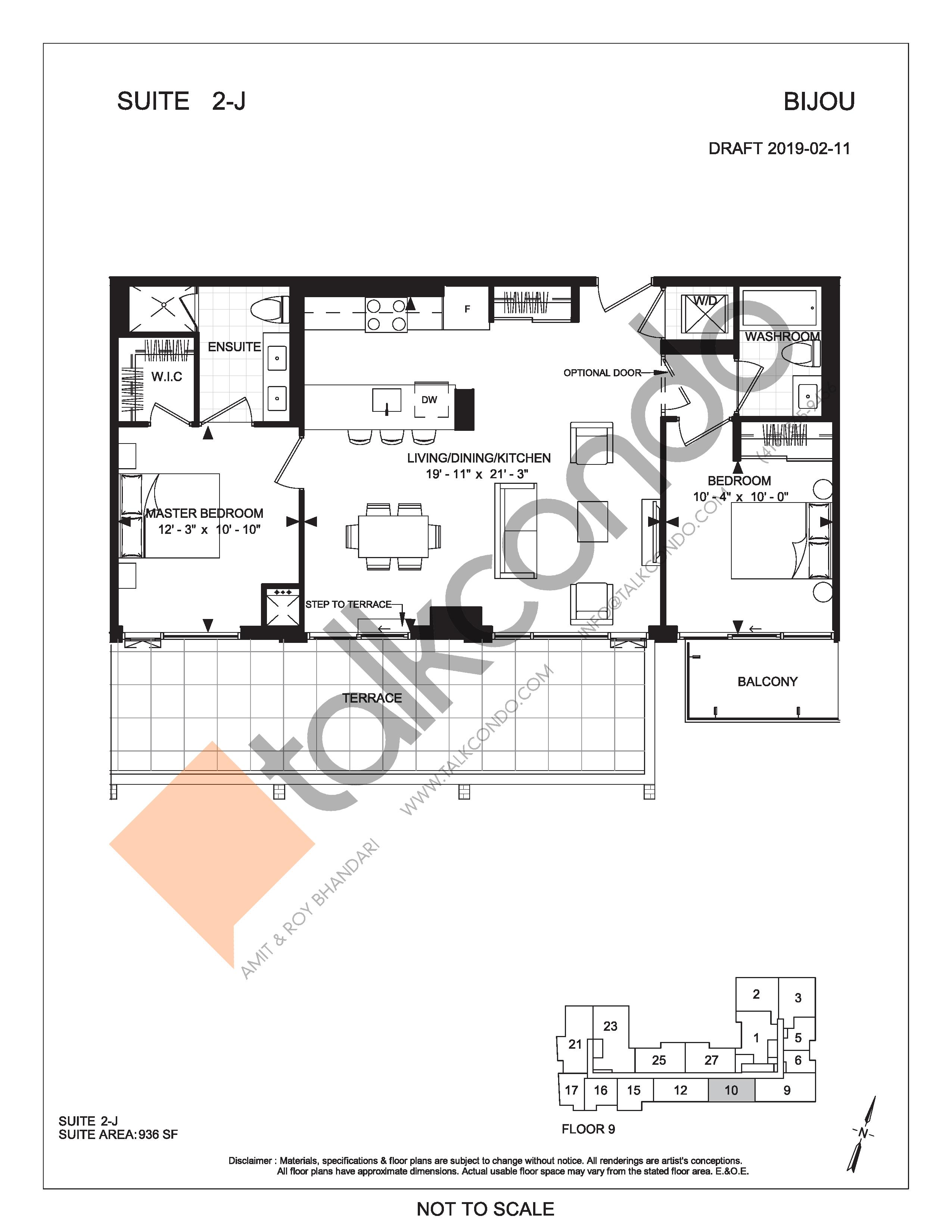 Suite 2-J (Terrace) Floor Plan at Bijou On Bloor Condos - 936 sq.ft