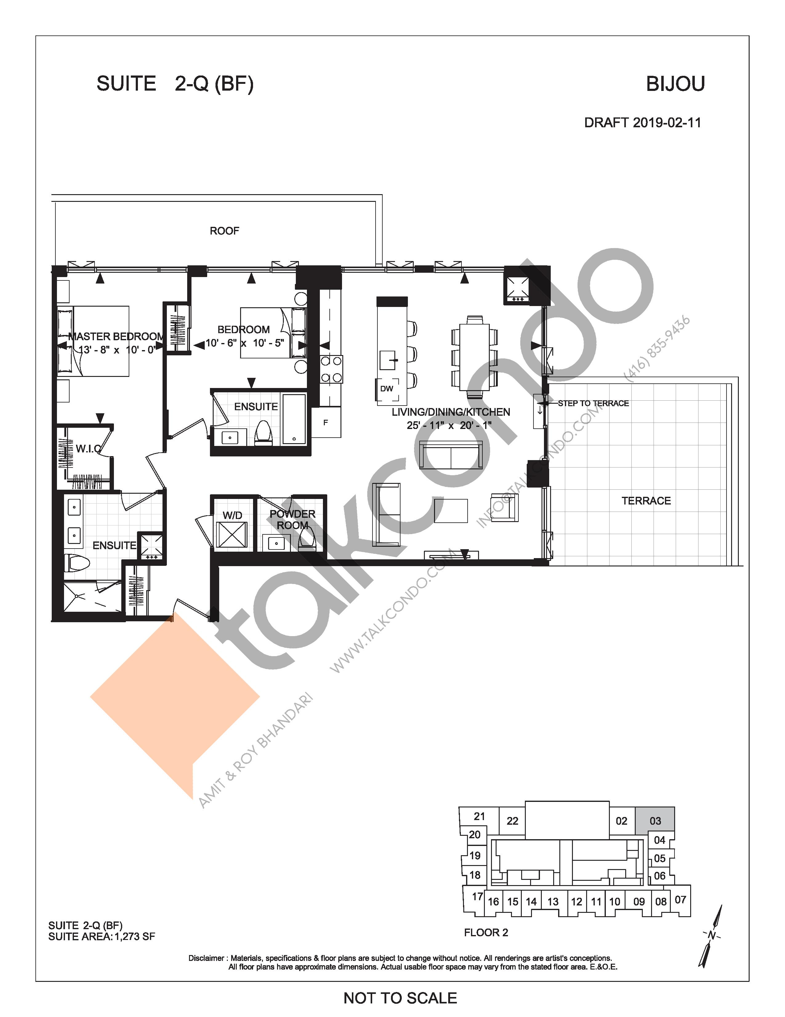 Suite 2-Q (BF) (Terrace) Floor Plan at Bijou On Bloor Condos - 1273 sq.ft