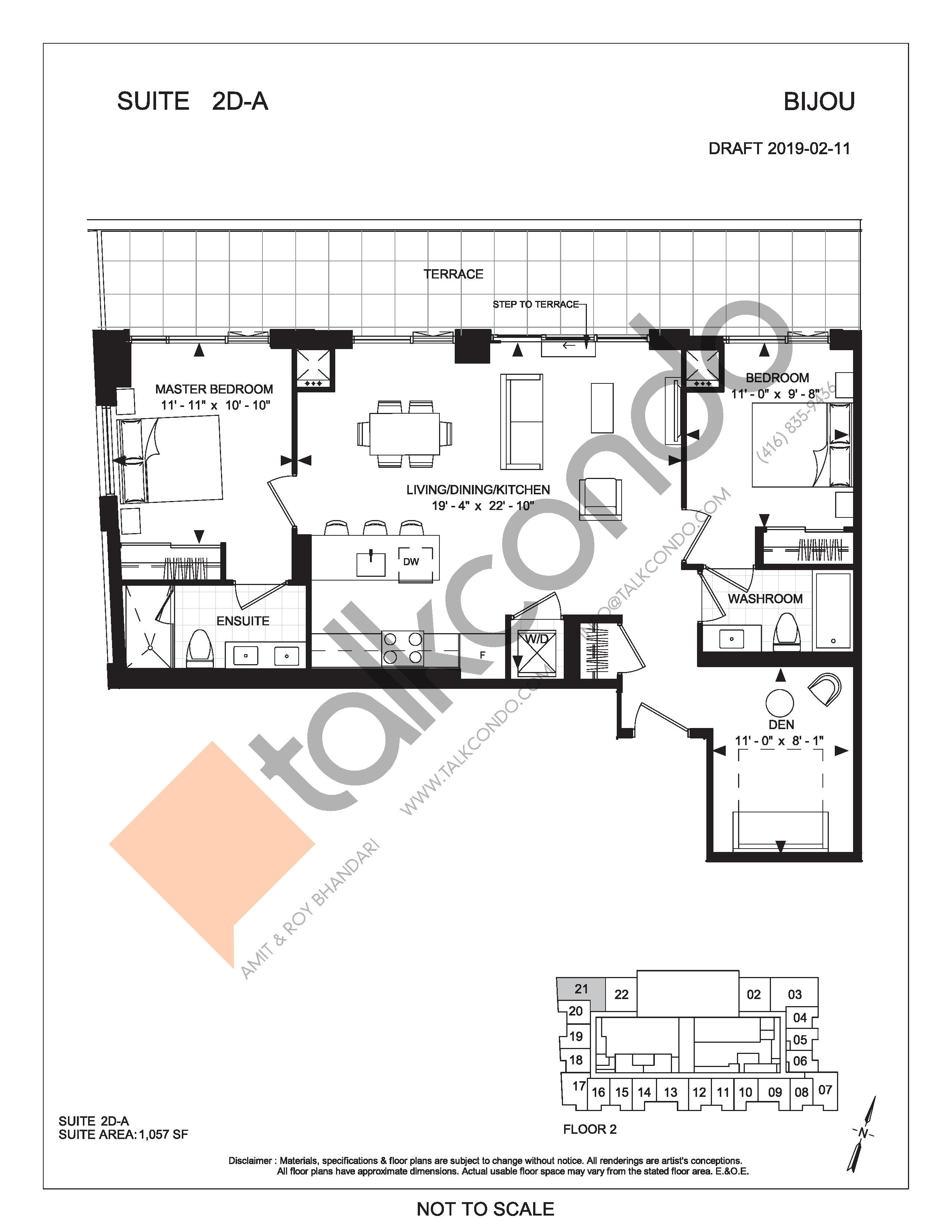 Suite 2D-A (Terrace) Floor Plan at Bijou On Bloor Condos - 1057 sq.ft